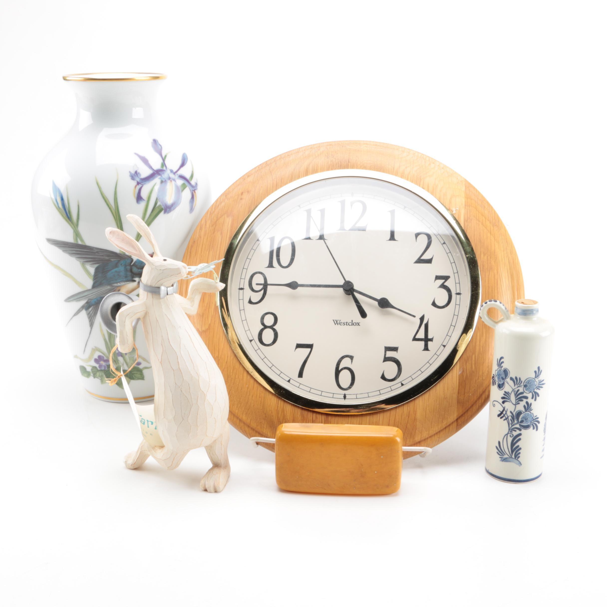 Franklin Porcelain Vase, Delft Jug and Westclox Clock