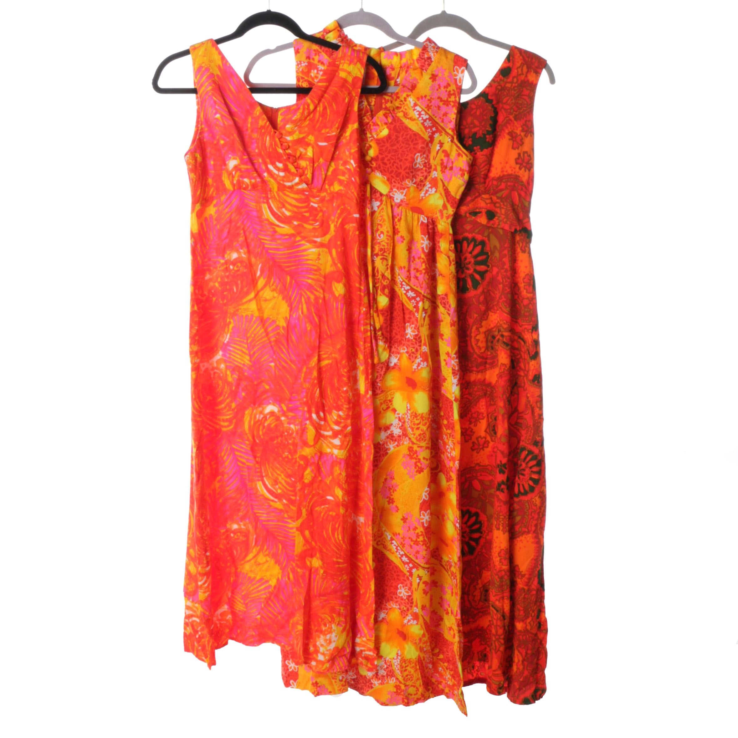 Women's Vintage Hawaiian Barkcloth Dresses