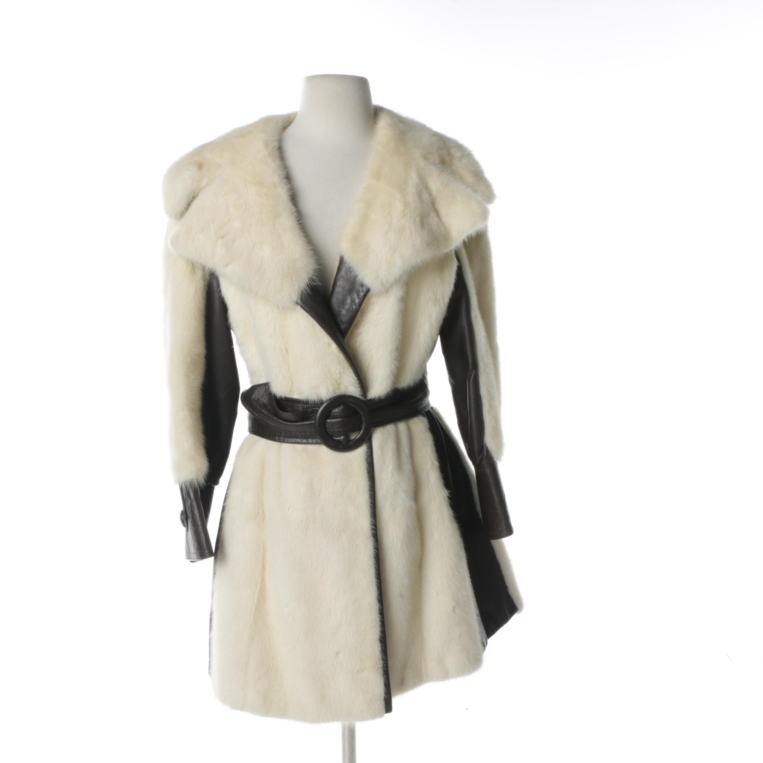 1970s White Mink Fur and Brown Leather Coat