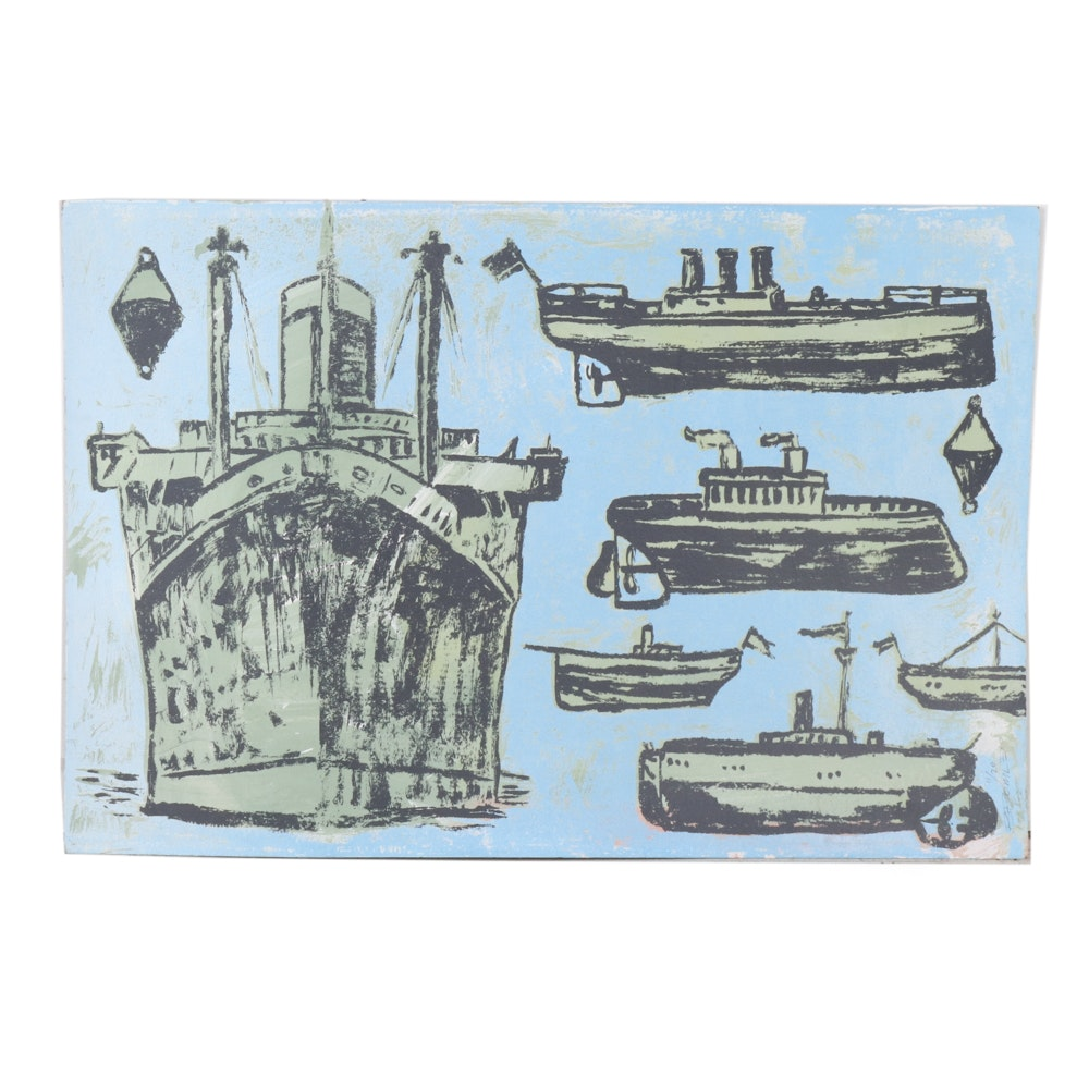 "David Bromley Limited Edition Serigraph ""Ships"""
