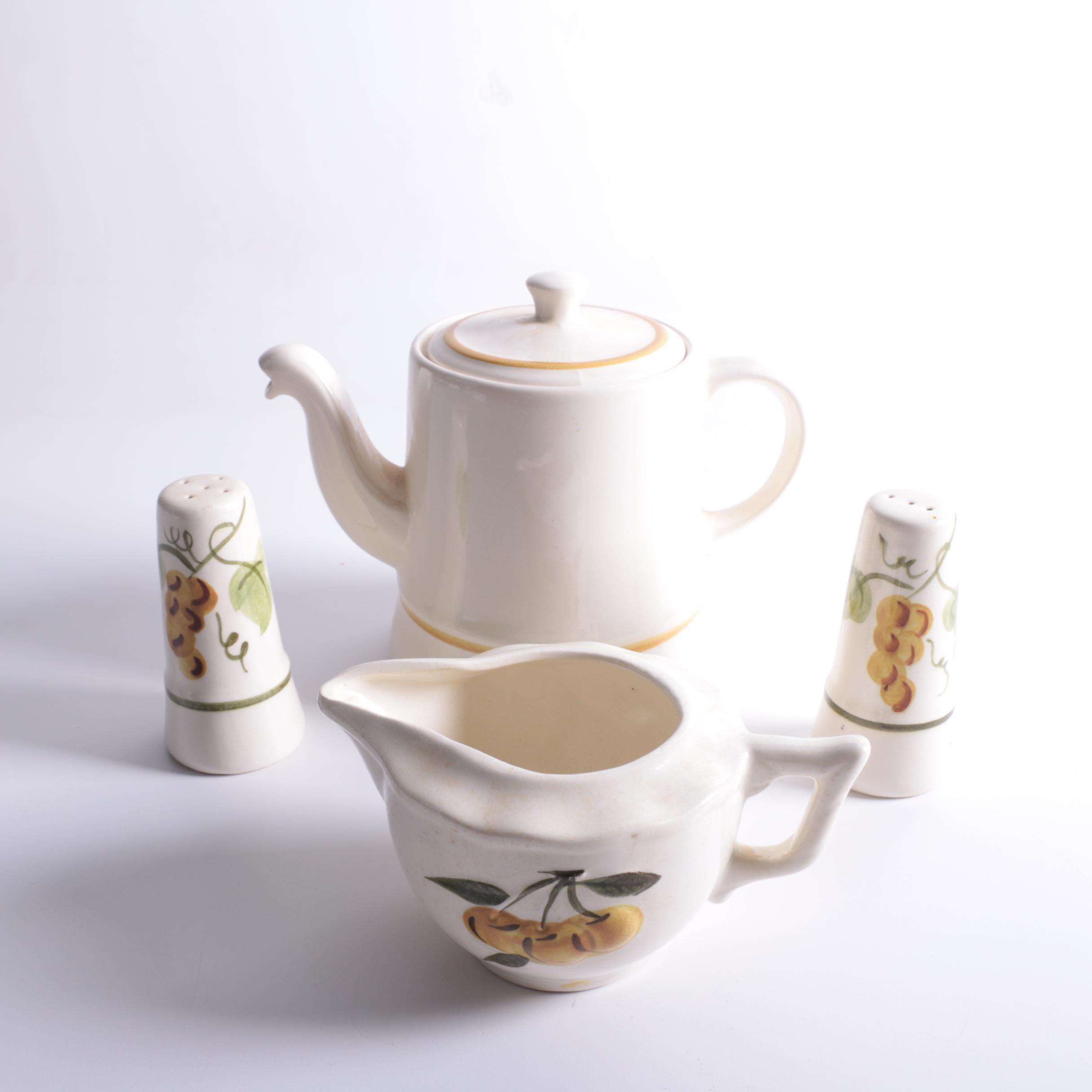 """Vintage Stangl """"Sculptured Fruit"""" Coffee Maker, Creamer, Salt and Pepper Shakers"""
