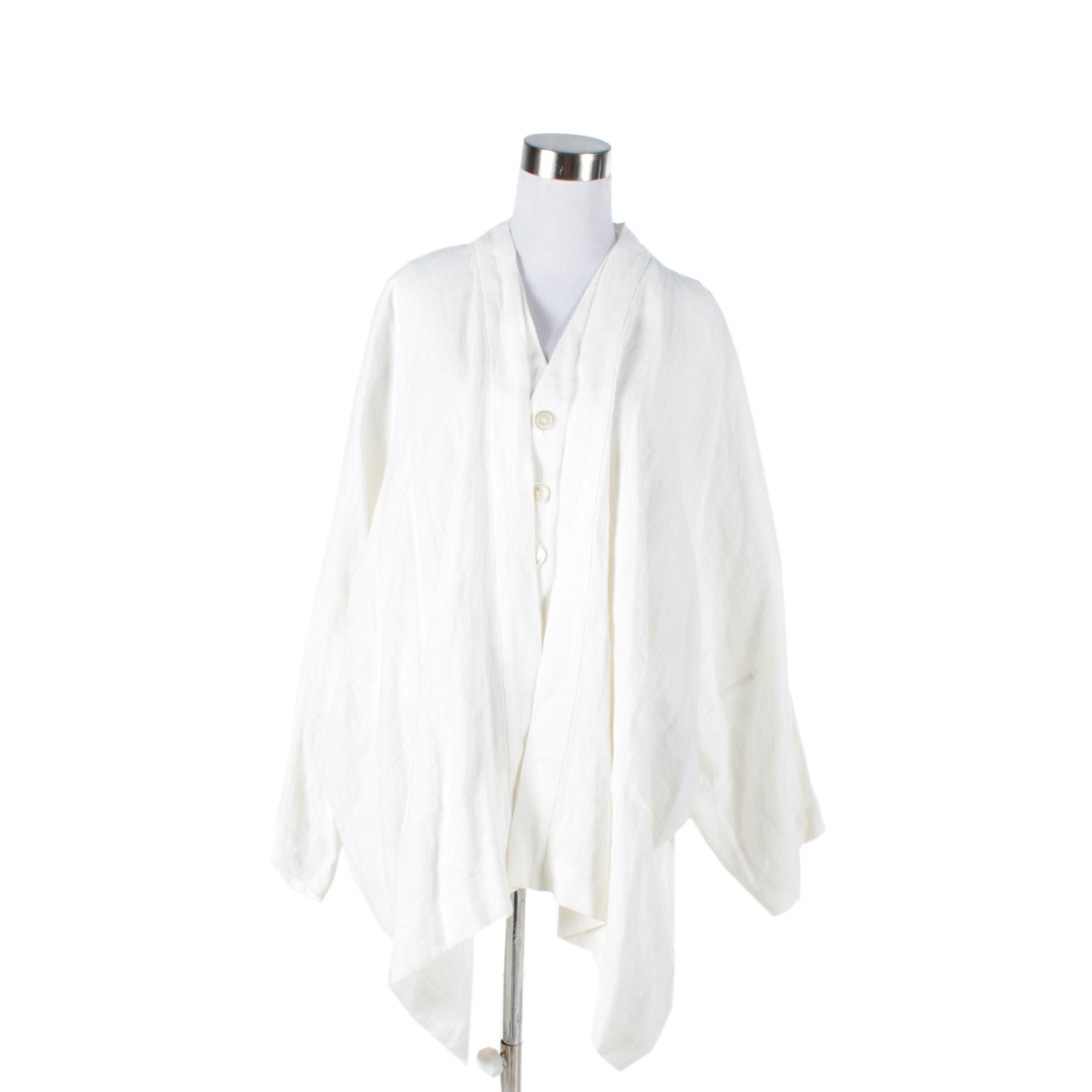 Women's Eskandar Linen White Shawl and Vest