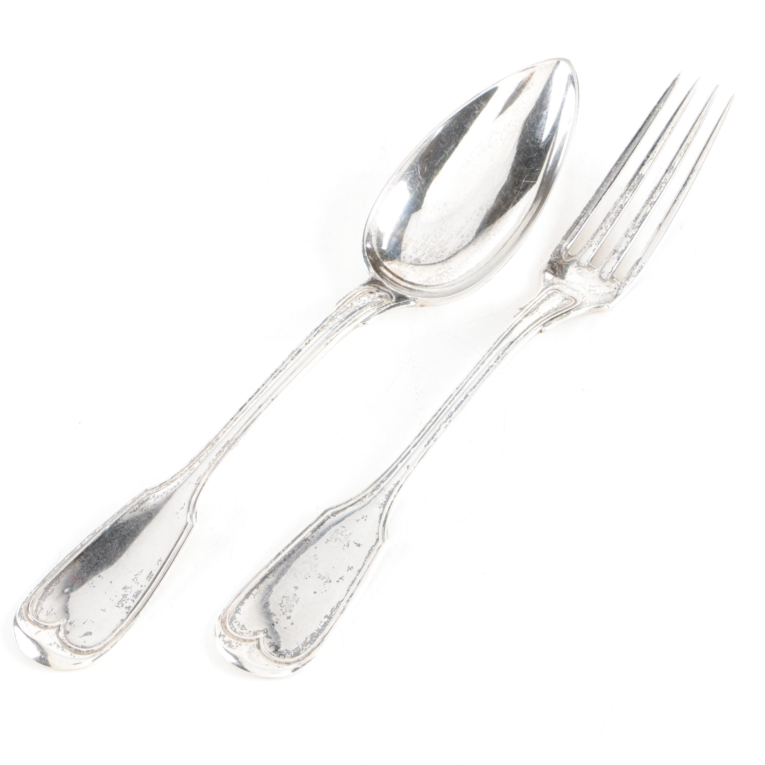 German 800 Silver Fiddle Thread Handle Serving Fork and Spoon