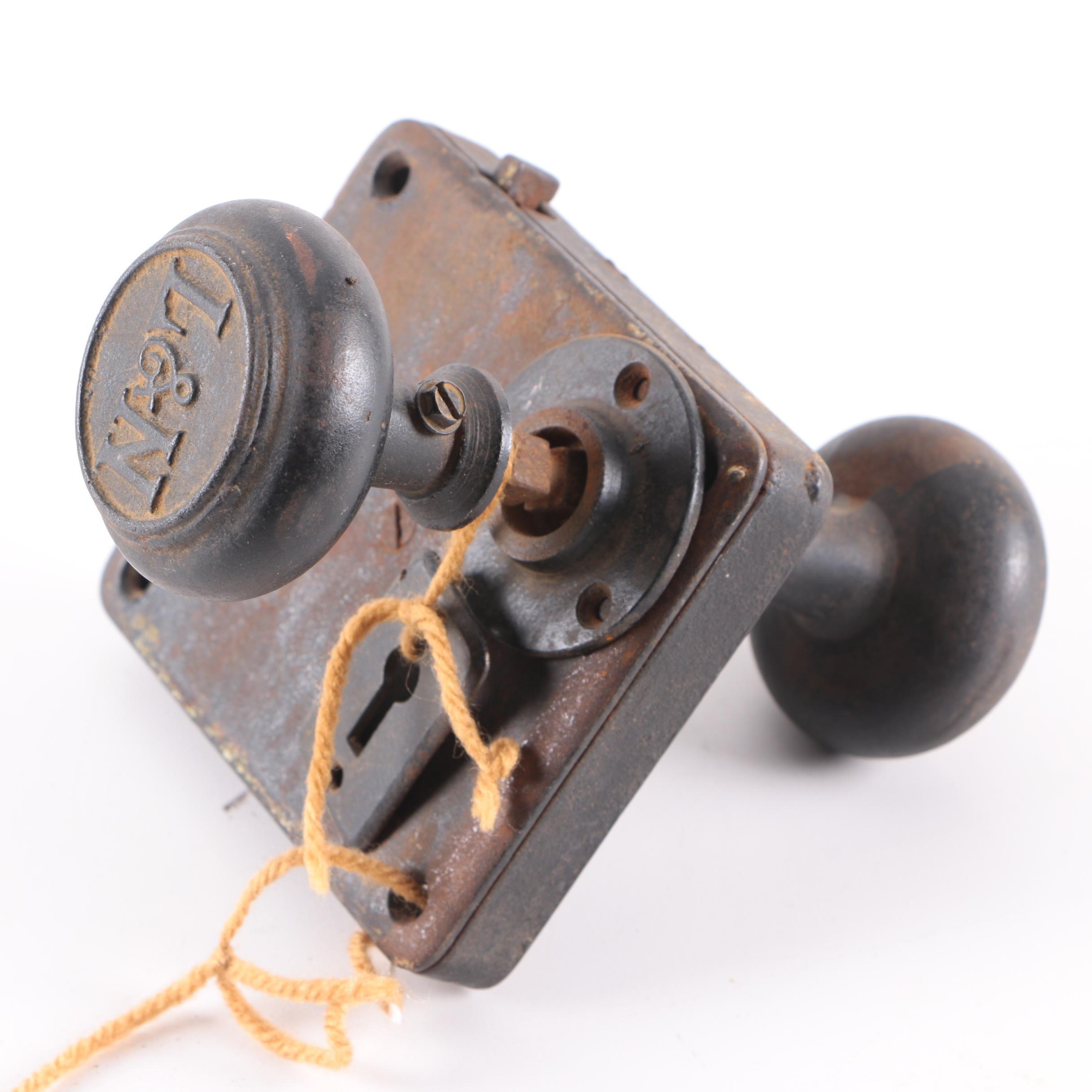 Antique L&N Railroad Doorknob and Rim Lock Set
