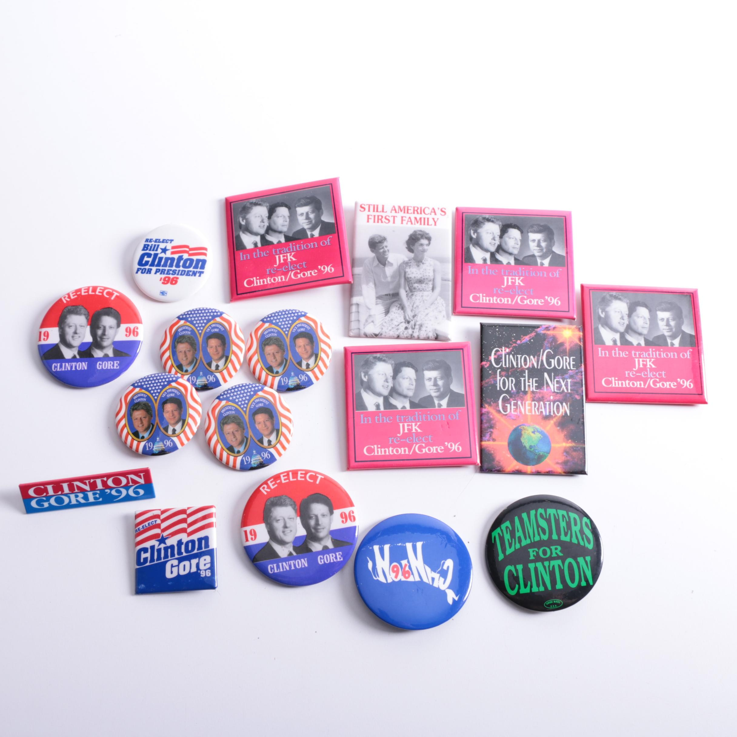 Political Pinbacks Including Kennedy and Clinton Pins