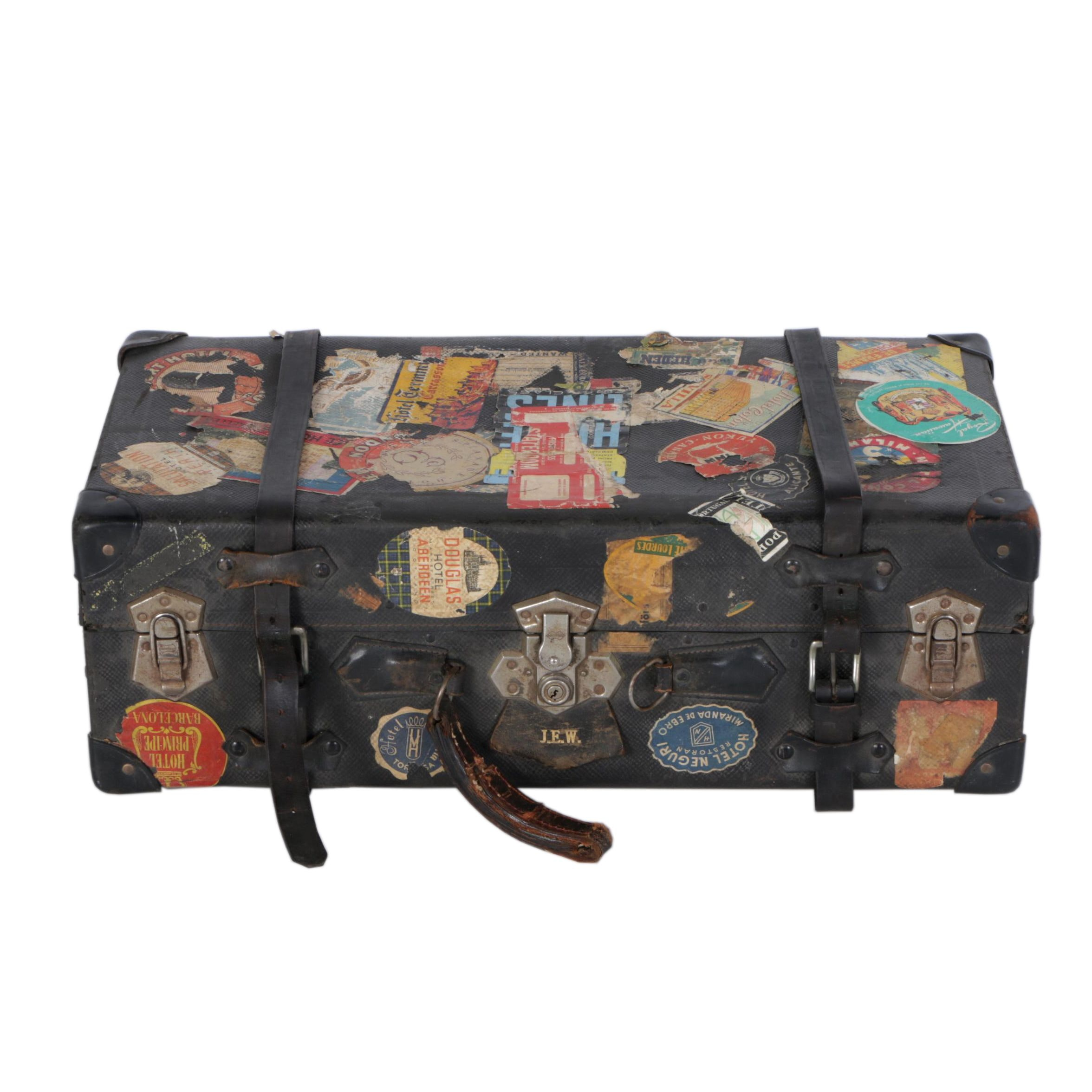 Vintage Luggage Trunk with Vintage Travel Stickers