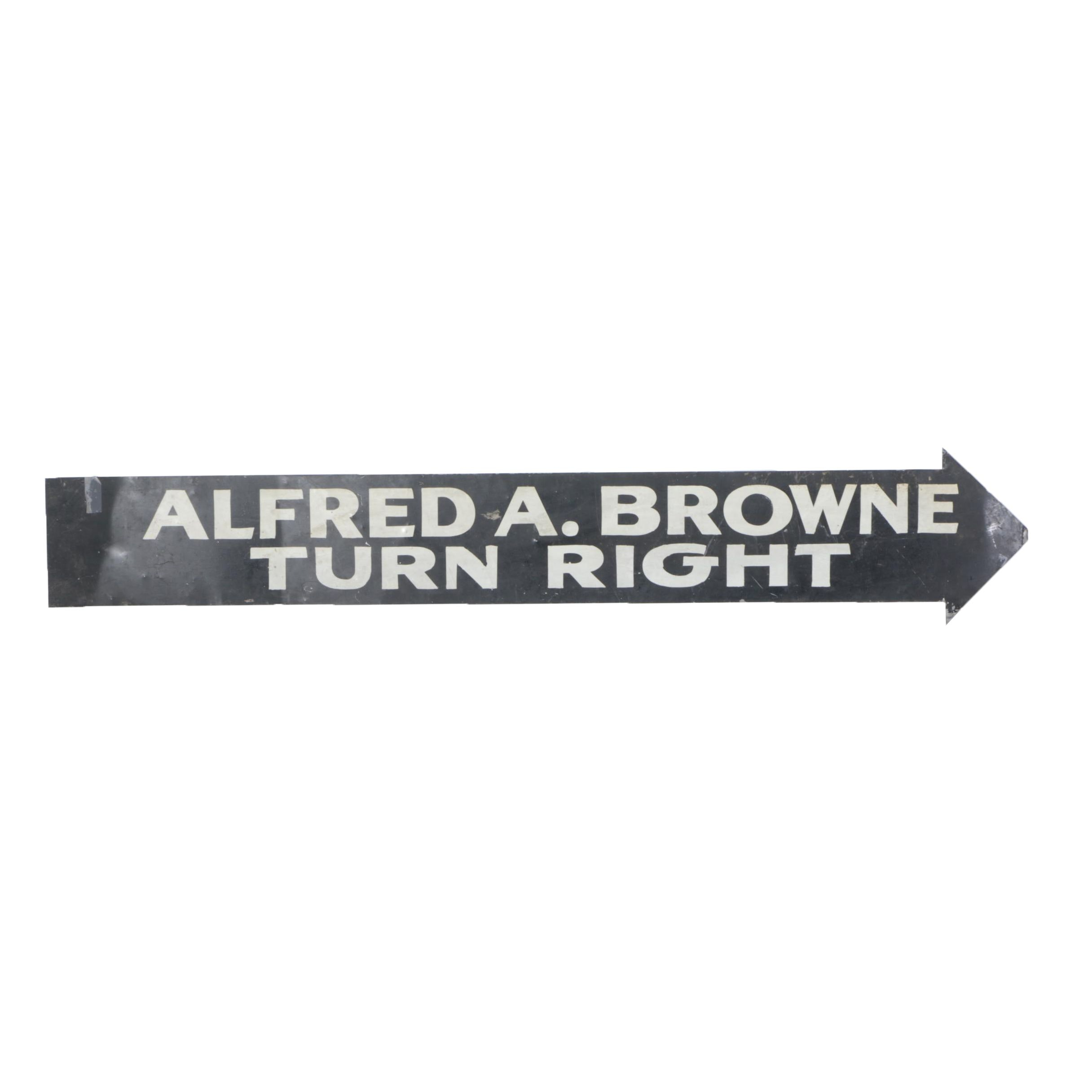Large Hand Lettered Metal Arrow Sign
