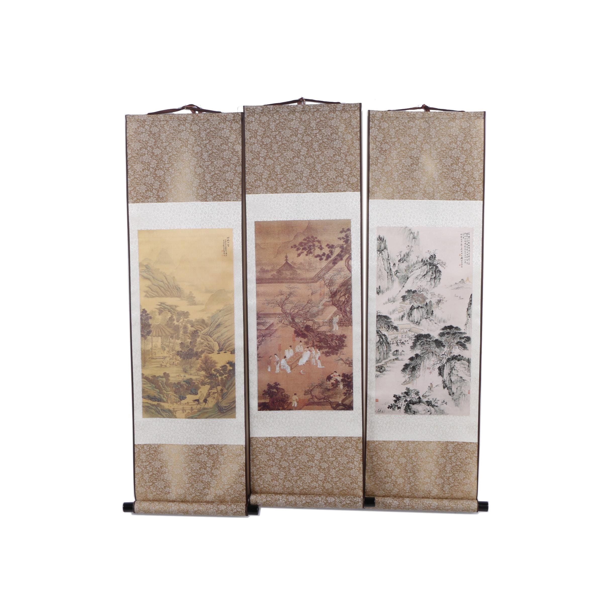 Chinese Giclée Prints on Silk Hanging Scrolls
