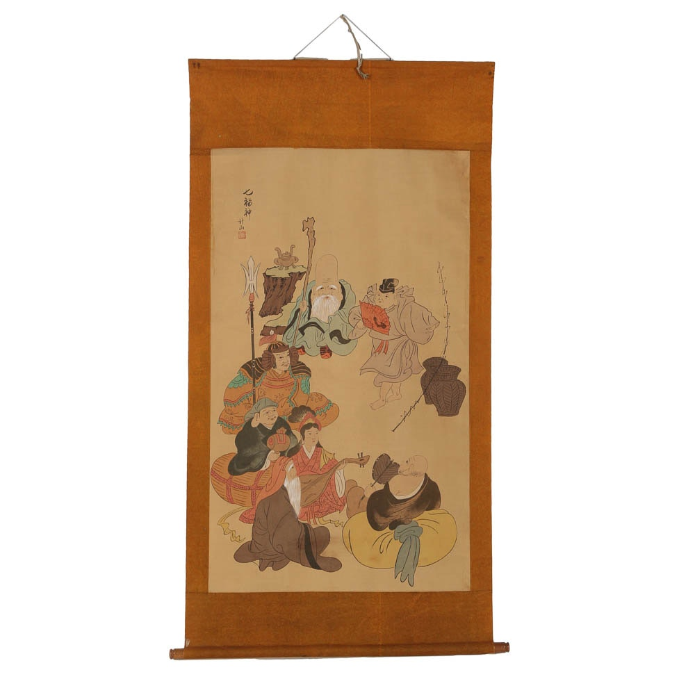 """Seven Lucky Gods"" Hand-Painted Japanese Hanging Scroll Signed Keiyama"