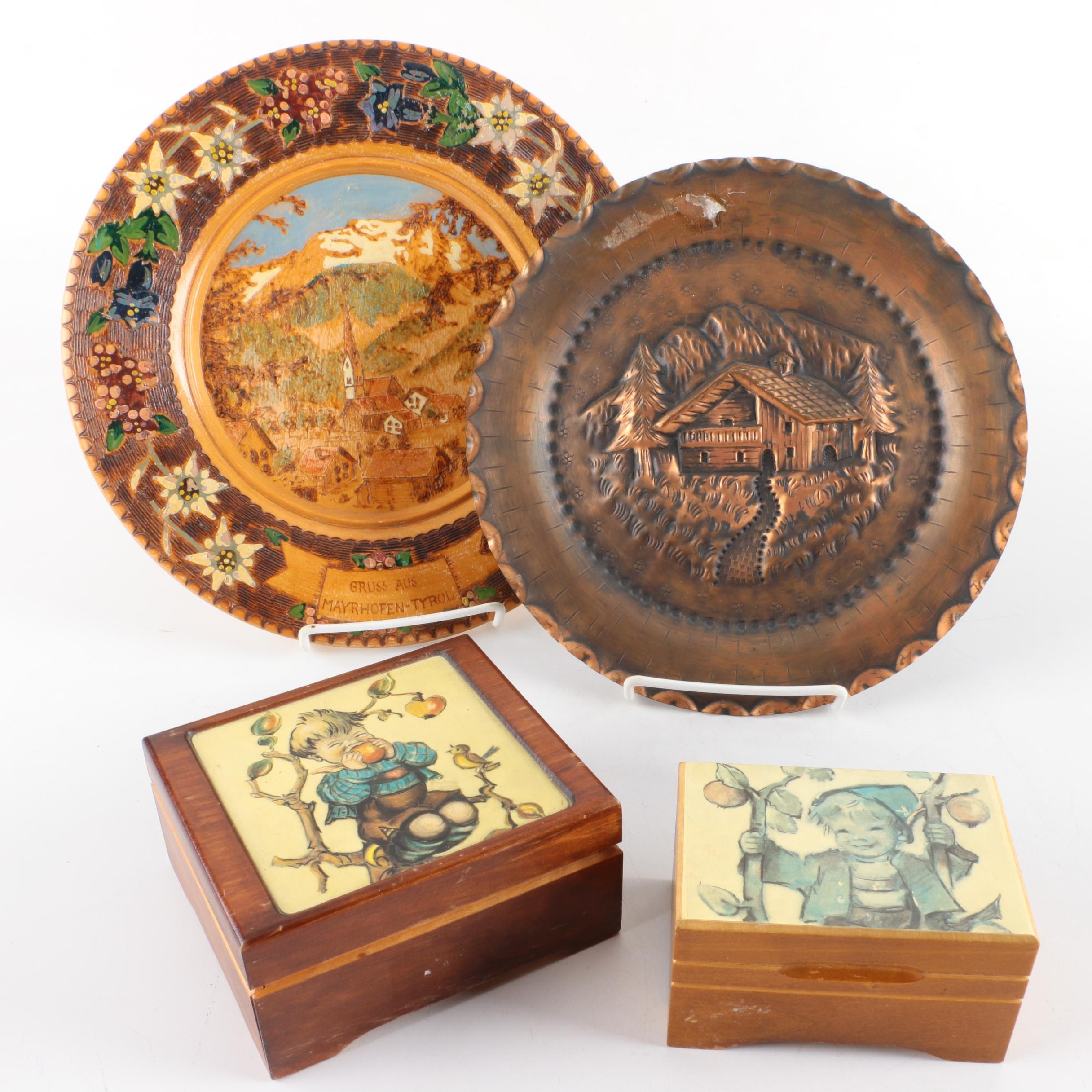 Vintage Music Boxes and Decorative Plates