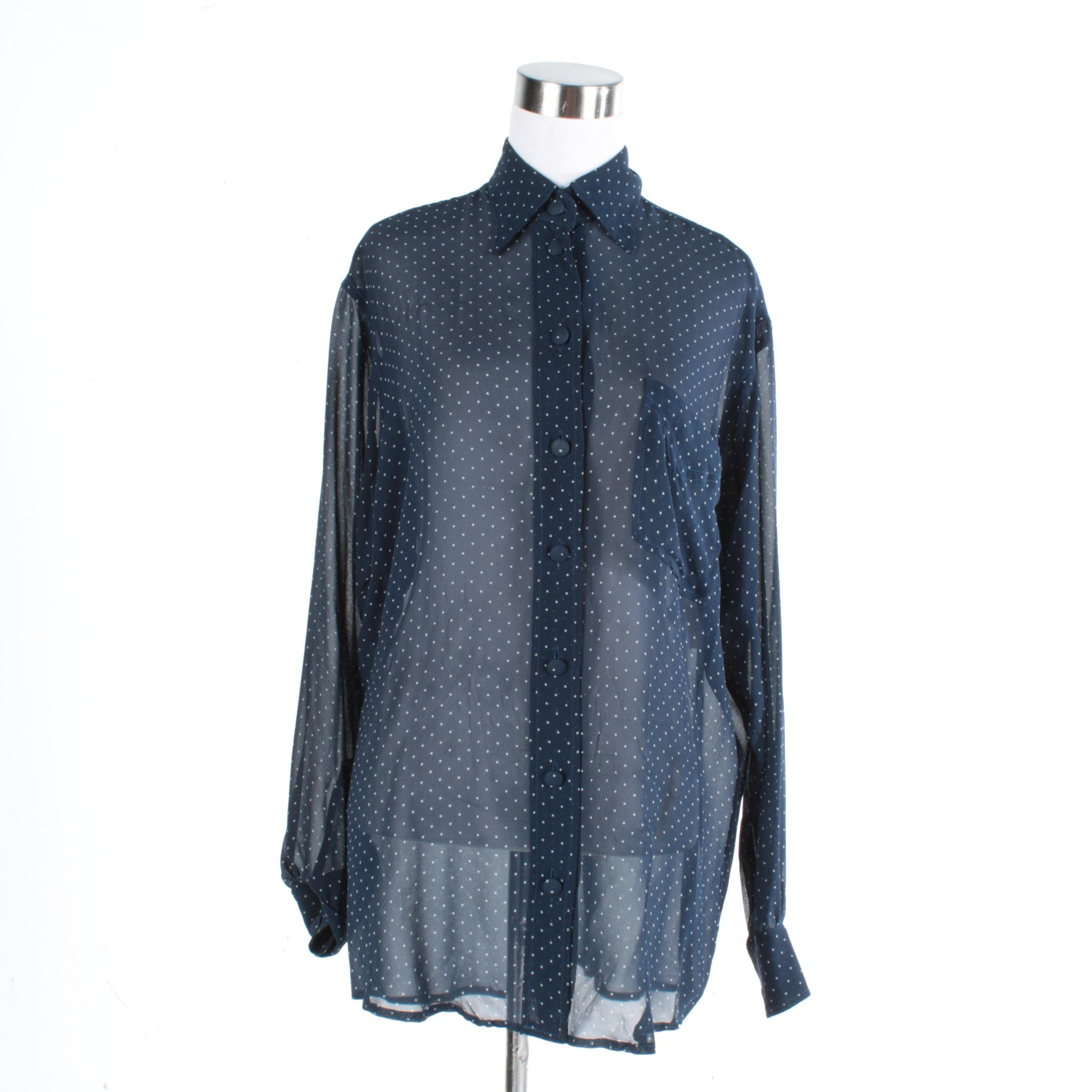 Moschino Silk Blue and White Polka Dot Blouse