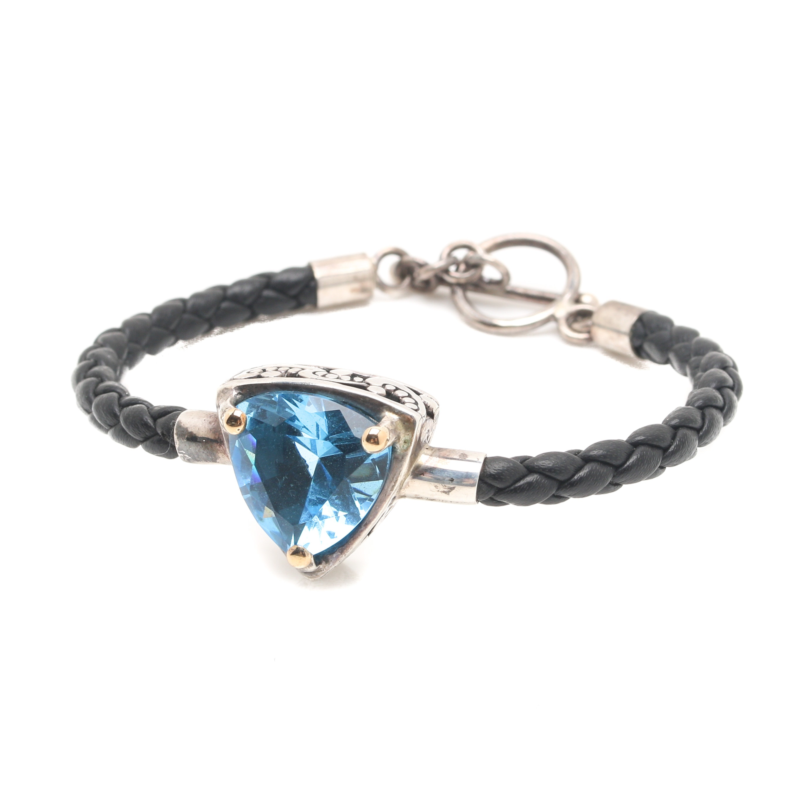 Sterling Silver Blue Cubic Zirconia Bracelet With 18K Yellow Gold Accents