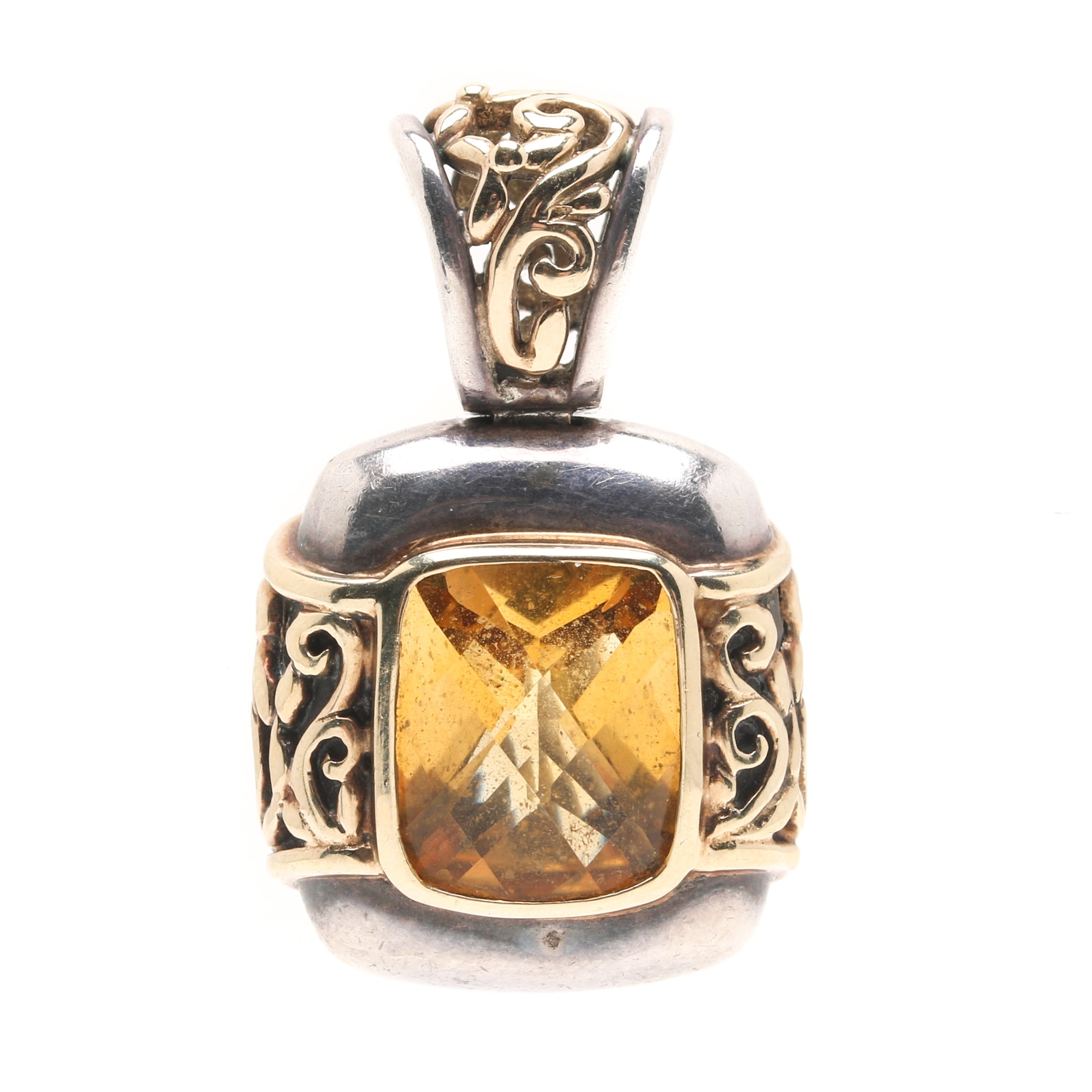 Sterling Silver Citrine Pendant With 14K Yellow Gold Accents