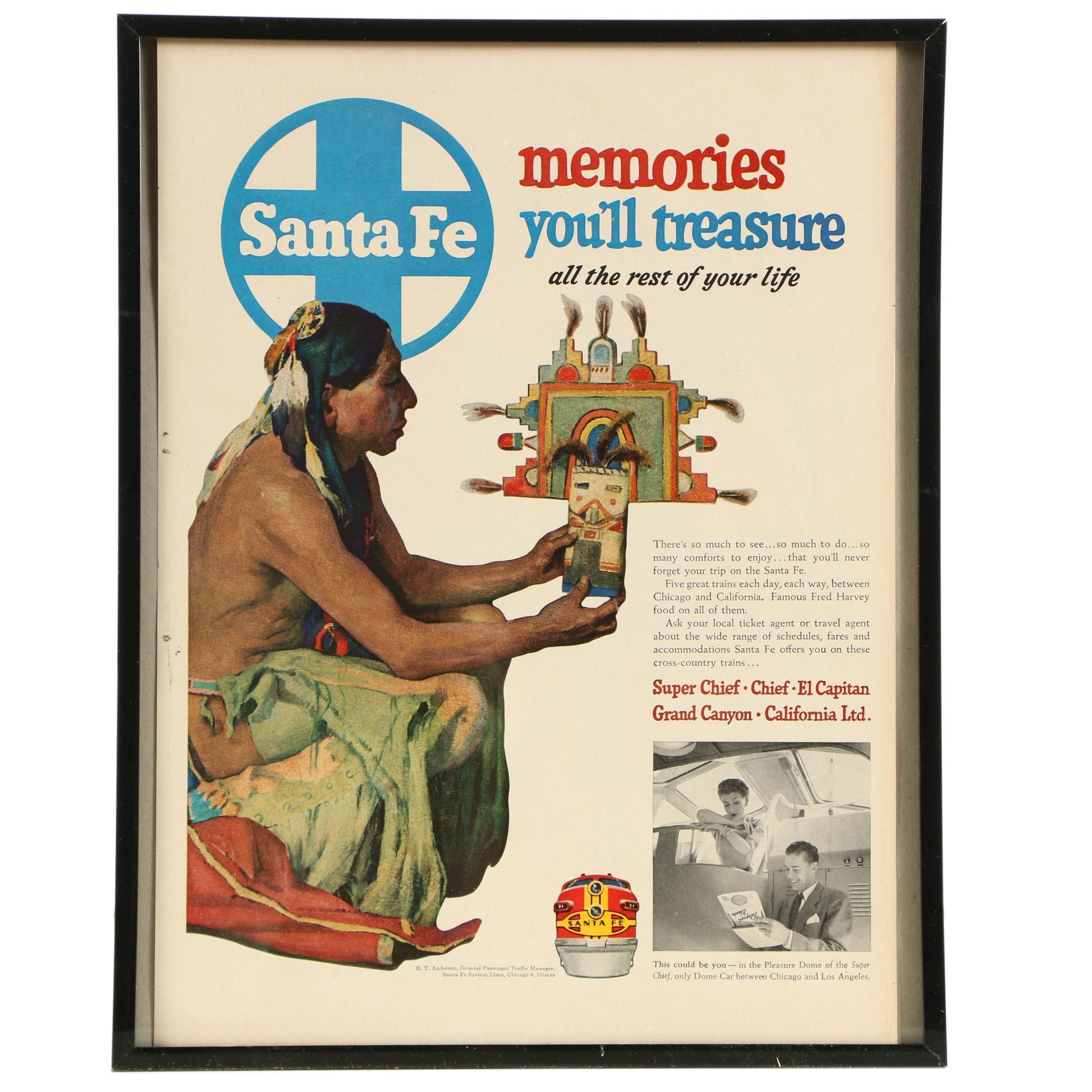 1952 Sante Fe Railroad Magazine Advertisement In Frame