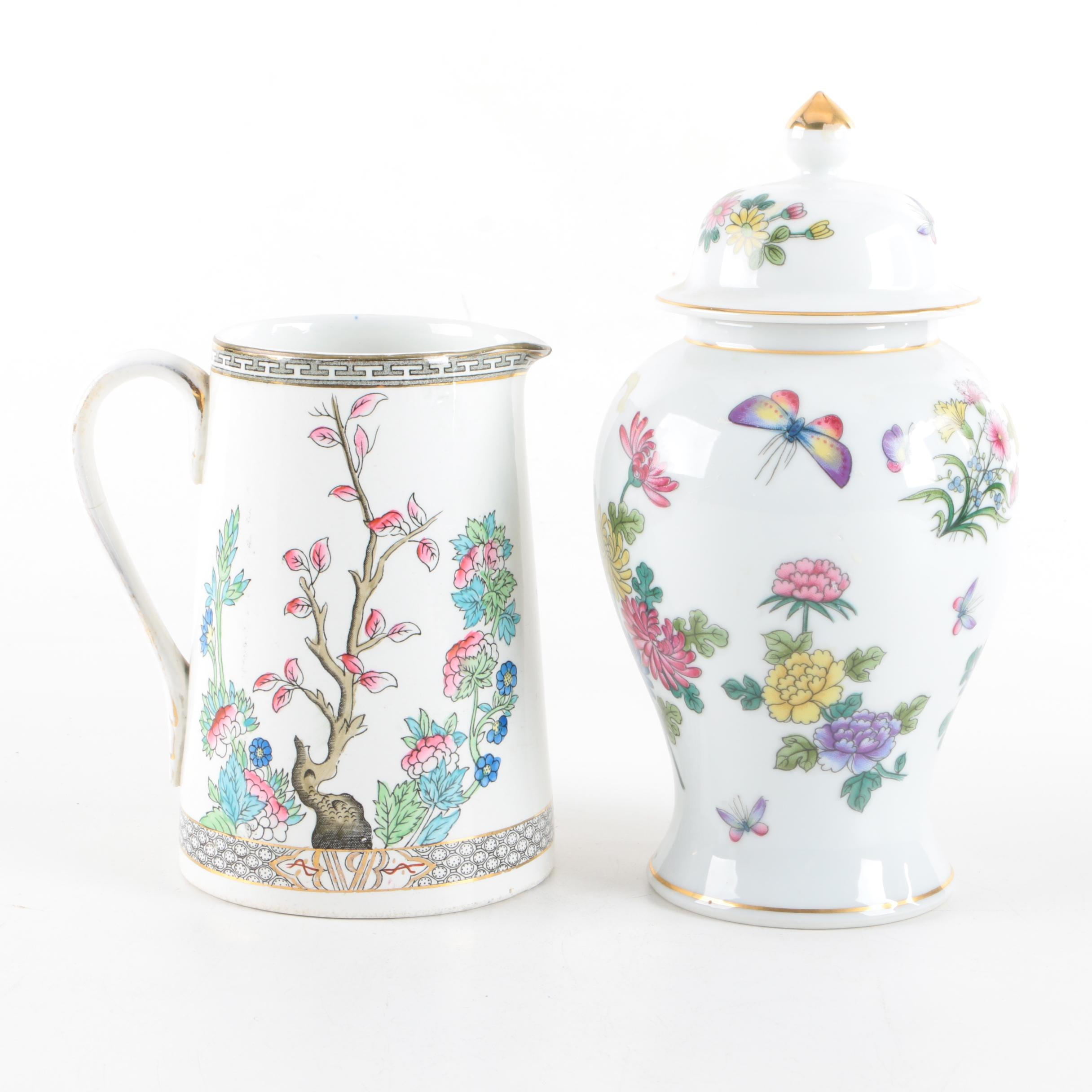 """Meakin """"Indian Tree"""" Pitcher and Ginger Jar"""
