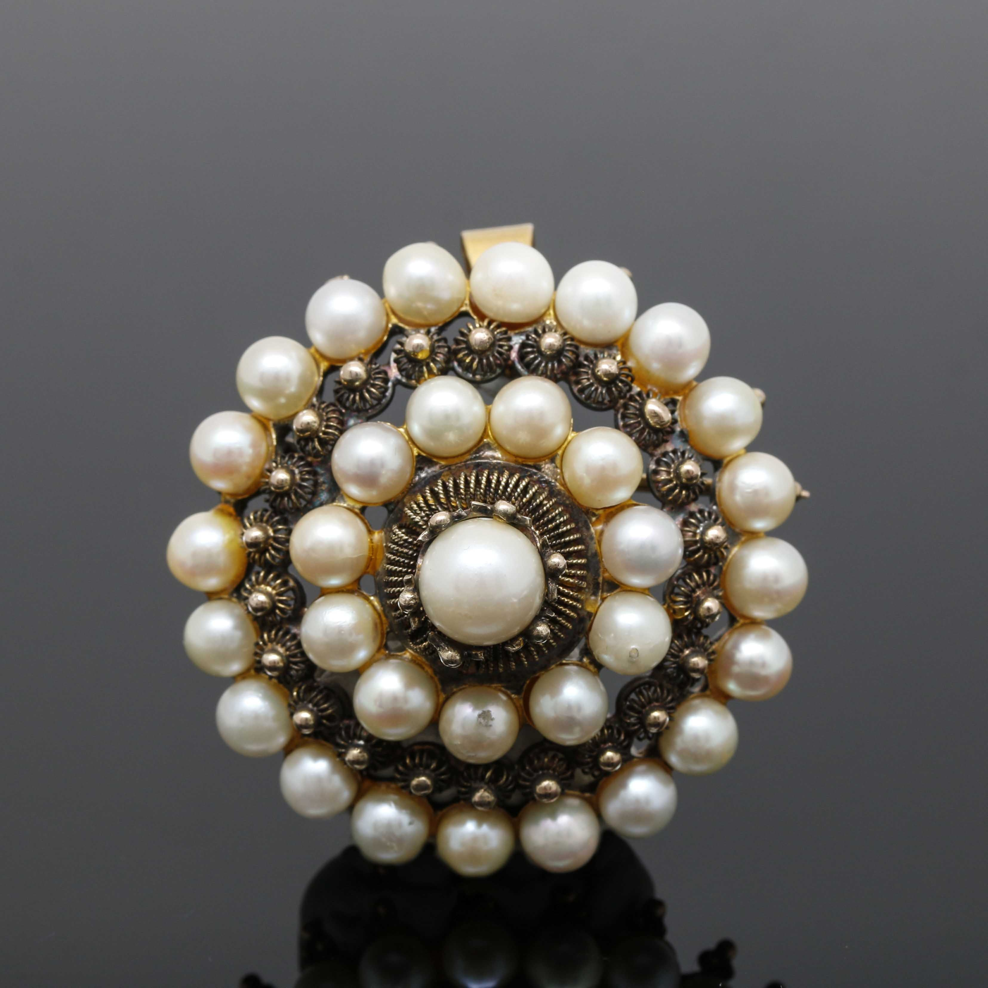 10K Yellow Gold Cultured Pearl Converter Brooch
