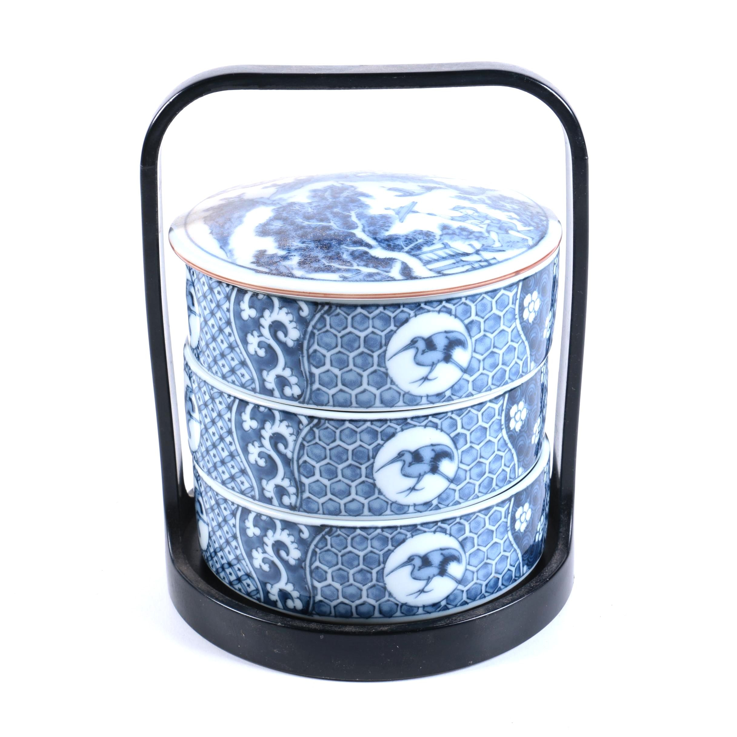Japanese Porcelain Stacking Boxes With Carrying Holder