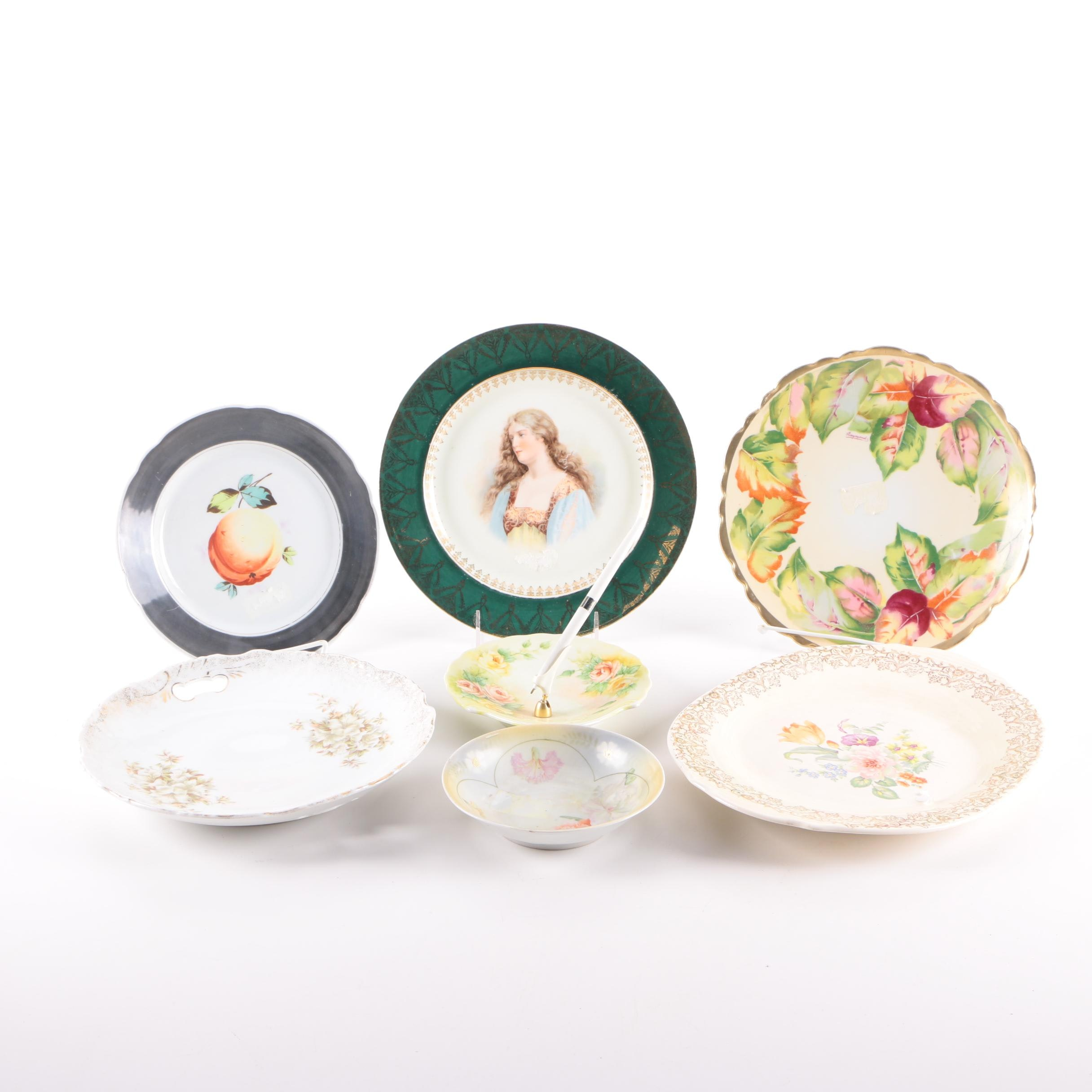 Vintage Porcelain Plates and Pen Holder