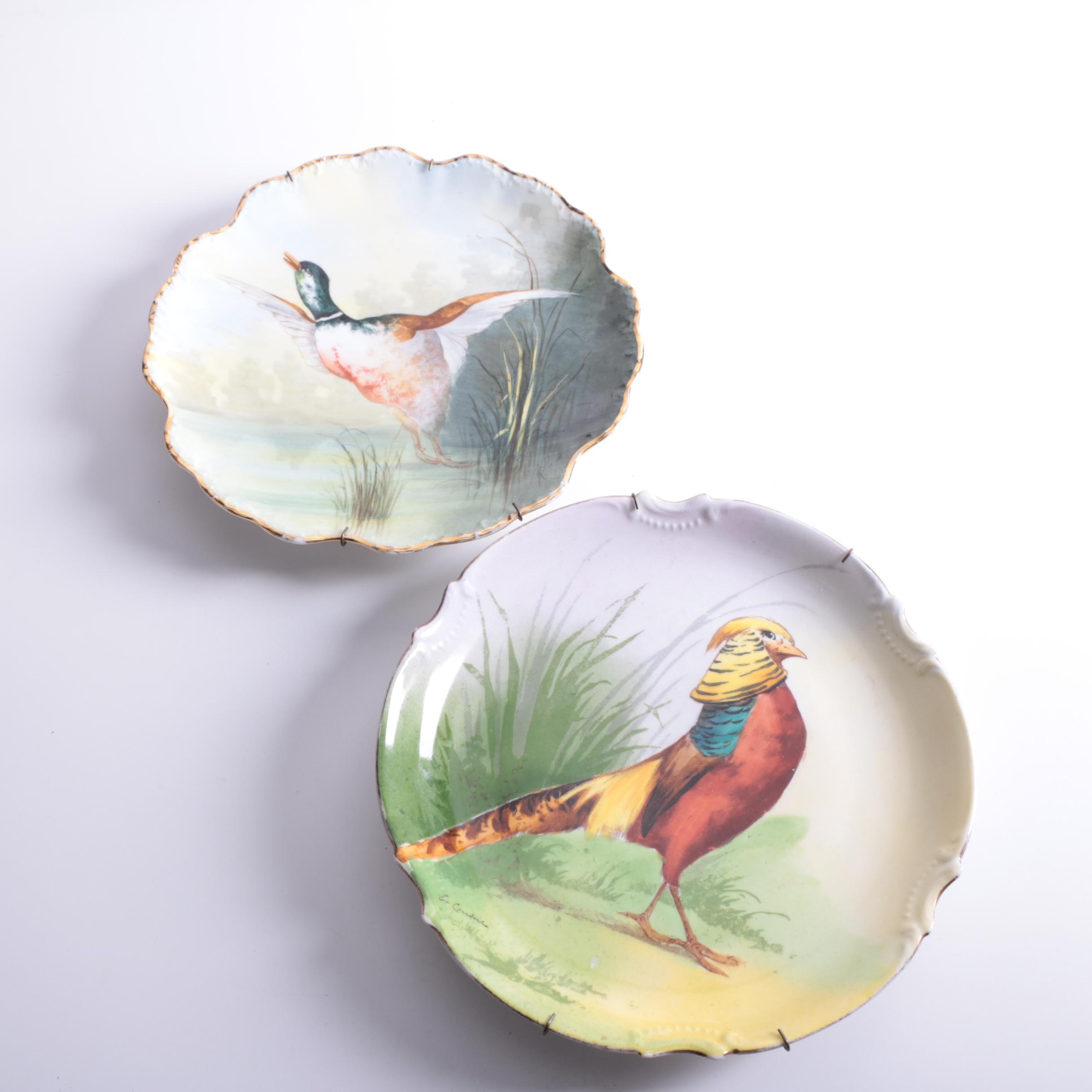 Vintage Porcelain Bird Themed Plates