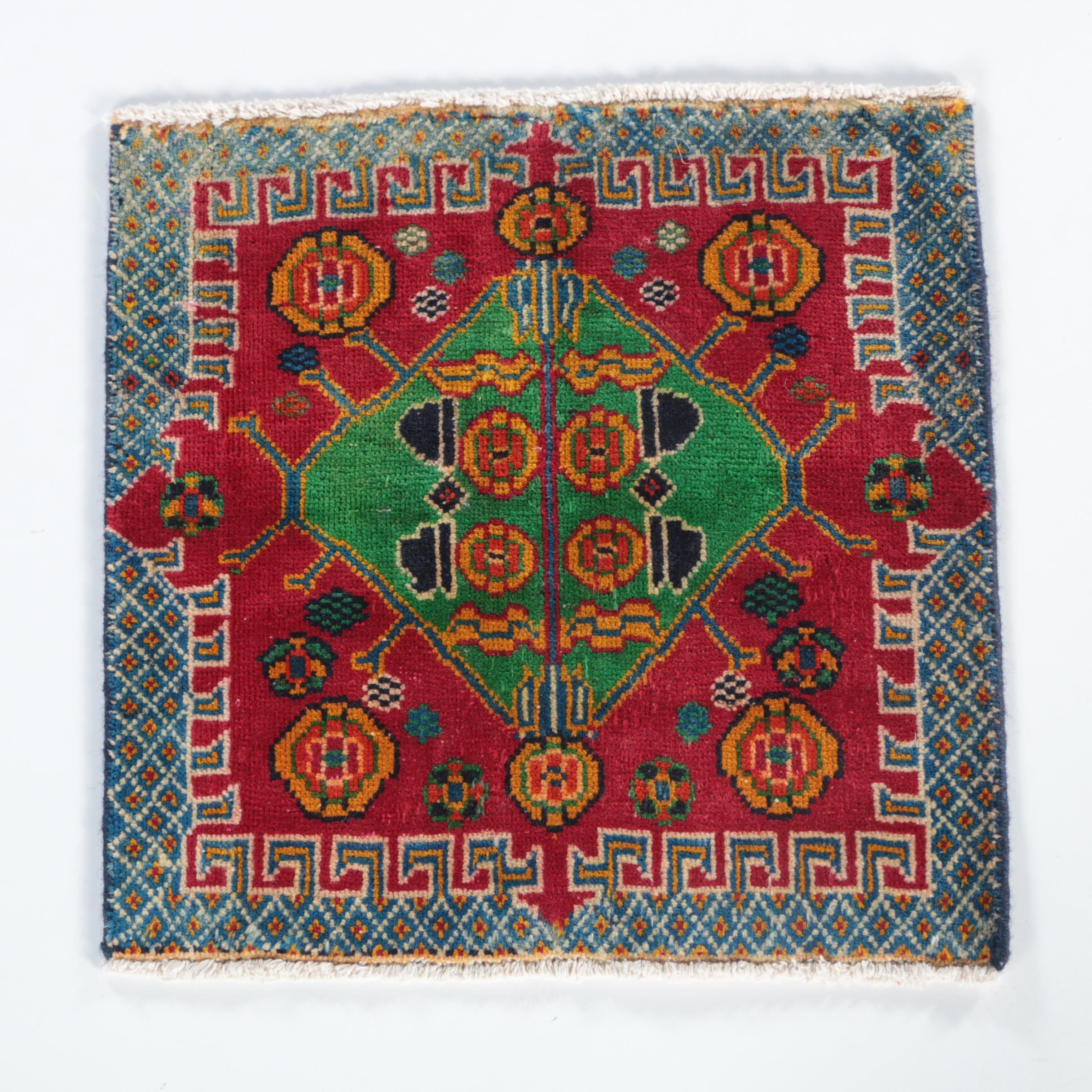 Hand-Knotted Caucasian Square Accent Rug