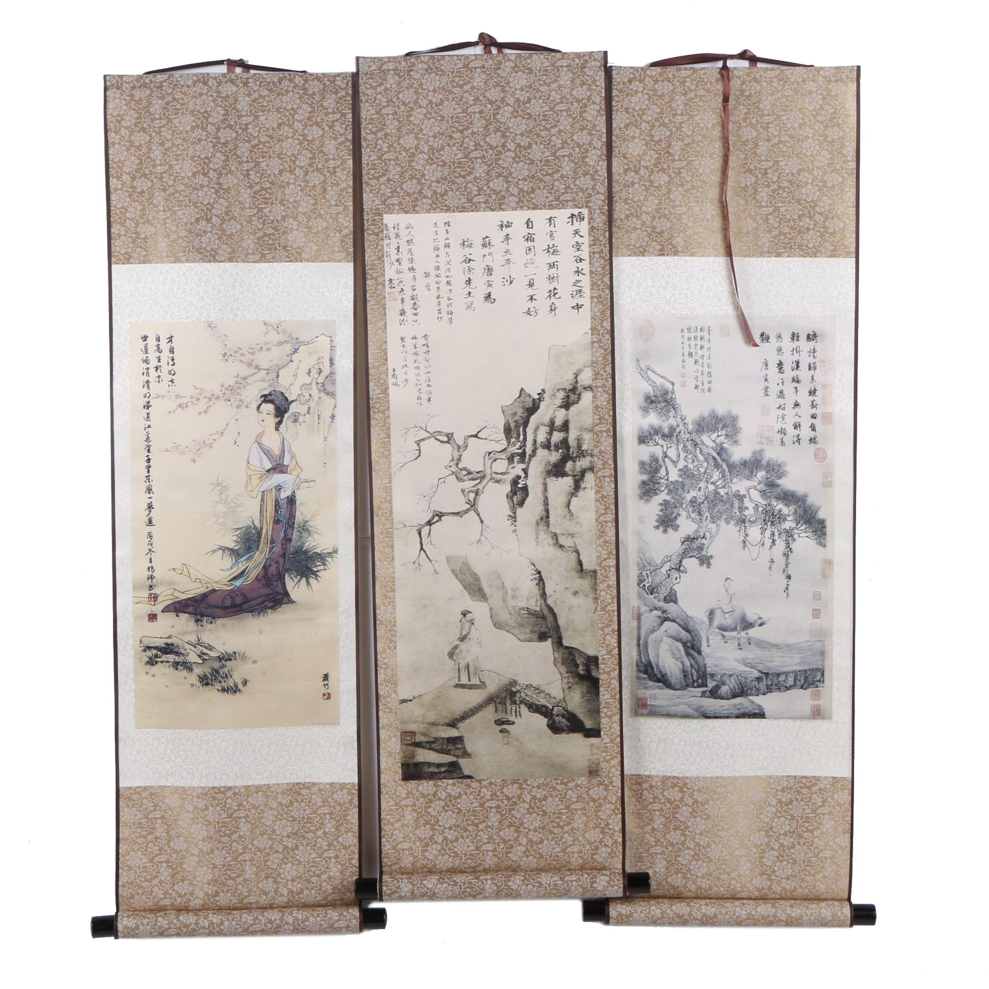 Chinese Silk Hanging Scrolls with Giclée Printed Nature Scenes