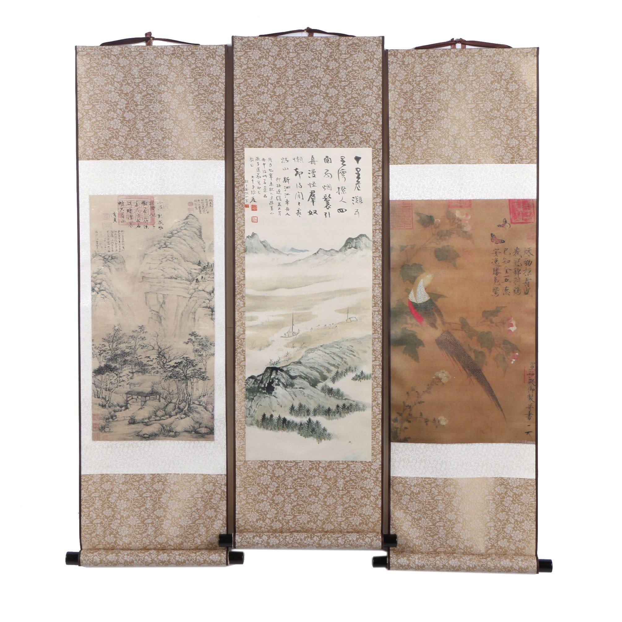 Chinese Silk Hanging Scrolls with Giclée Nature and Landscape Scenes