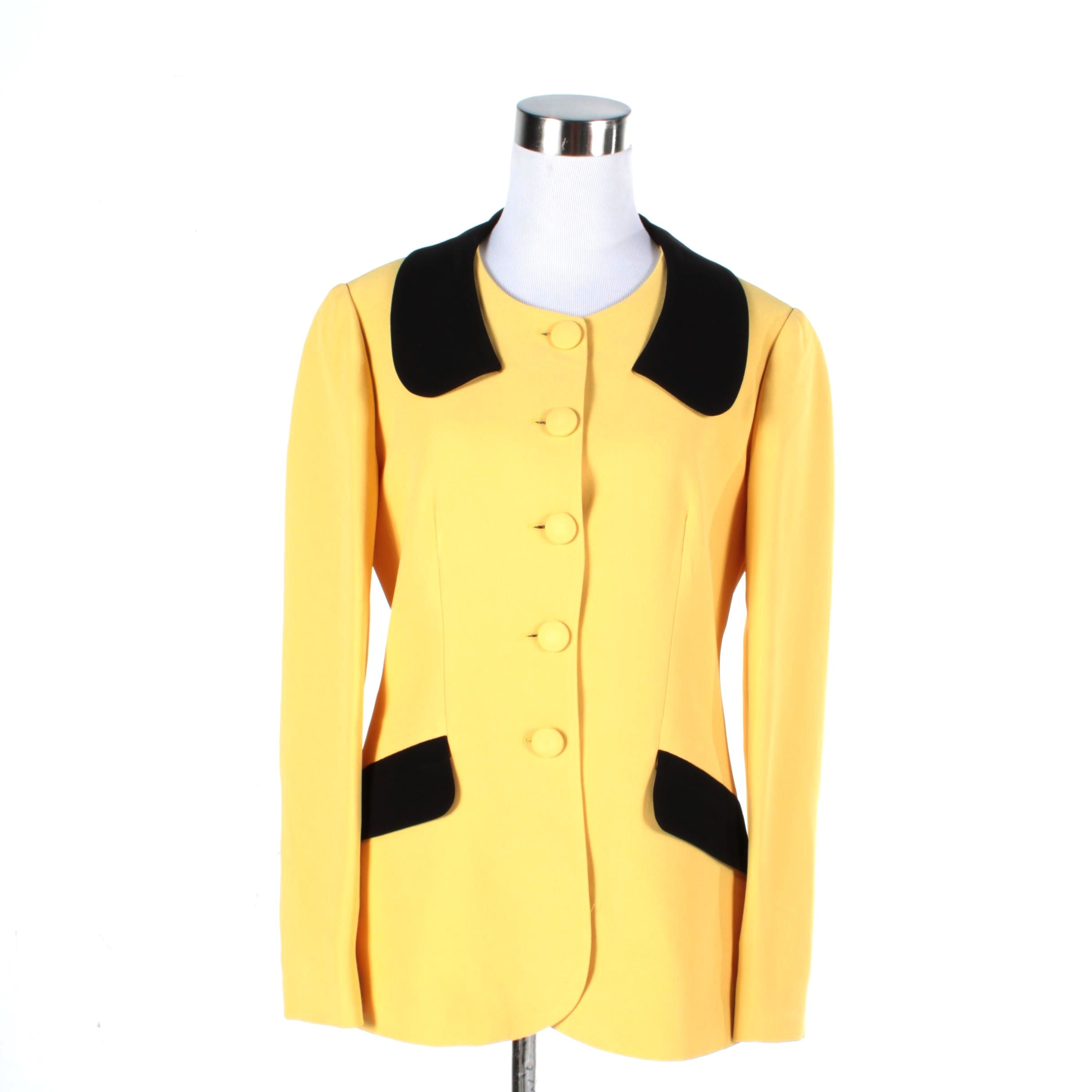 Women's Cheap and Chic by Moschino Yellow and Black Suit Jacket