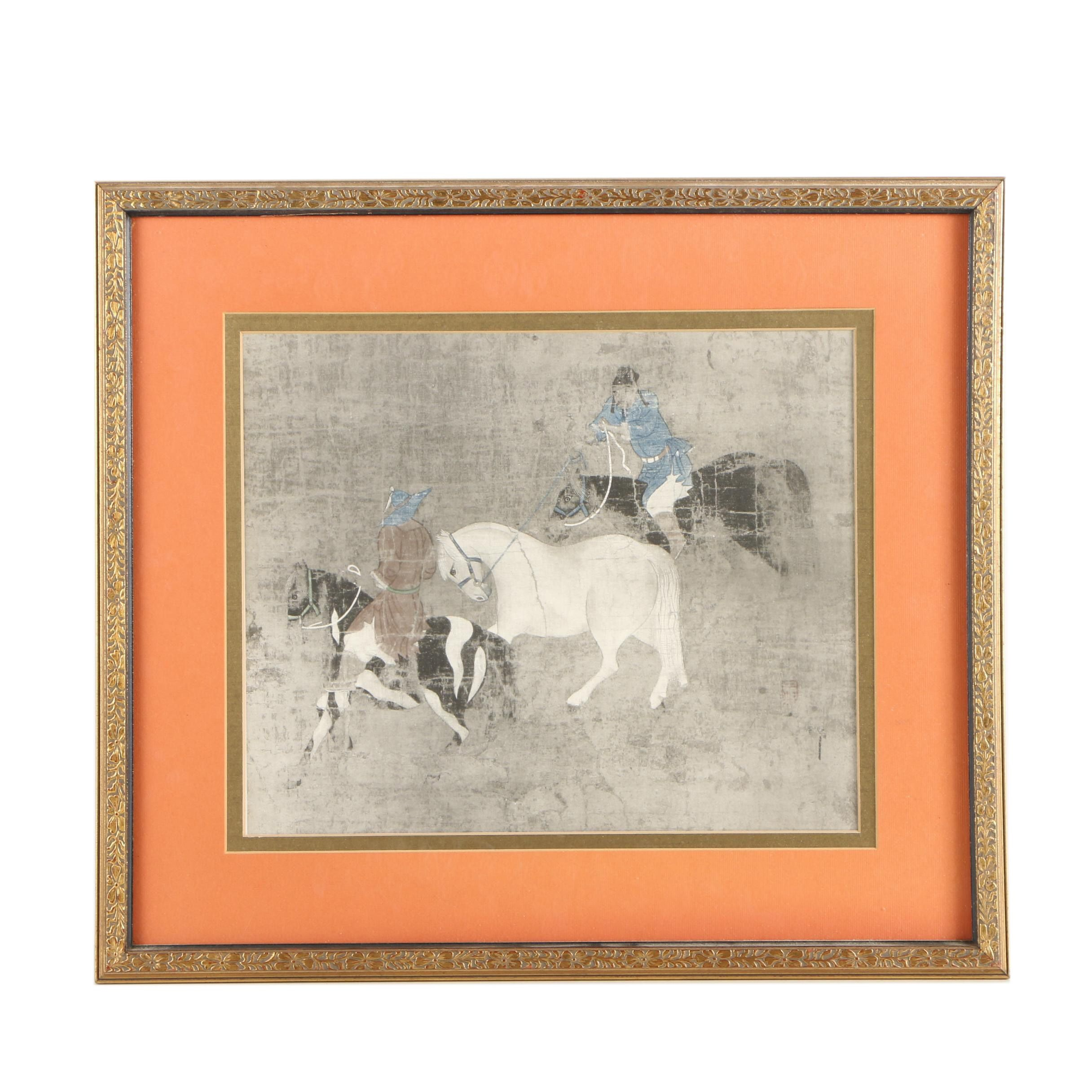 "Giclee After Yuan Dynasty Painting ""Tribute Horses"""