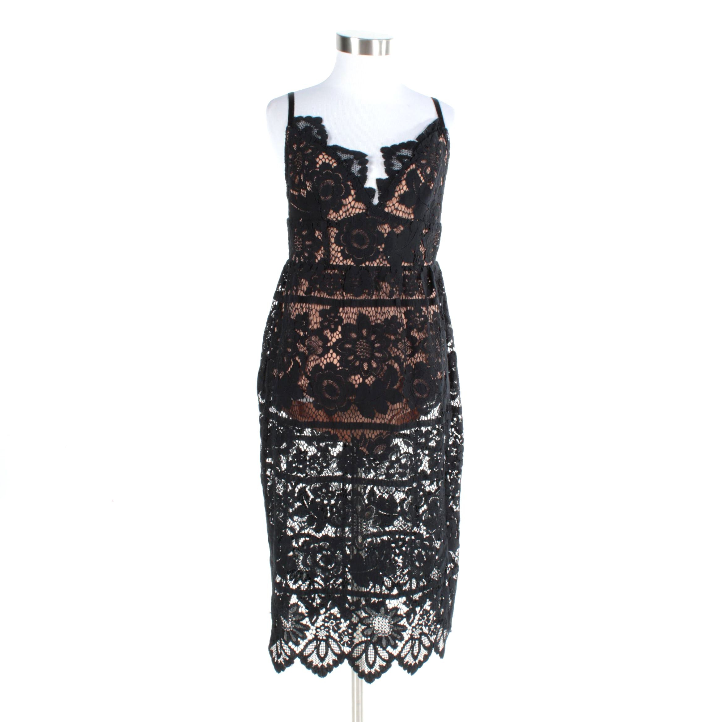 Women's For Love & Lemons Black Lace Cocktail Dress