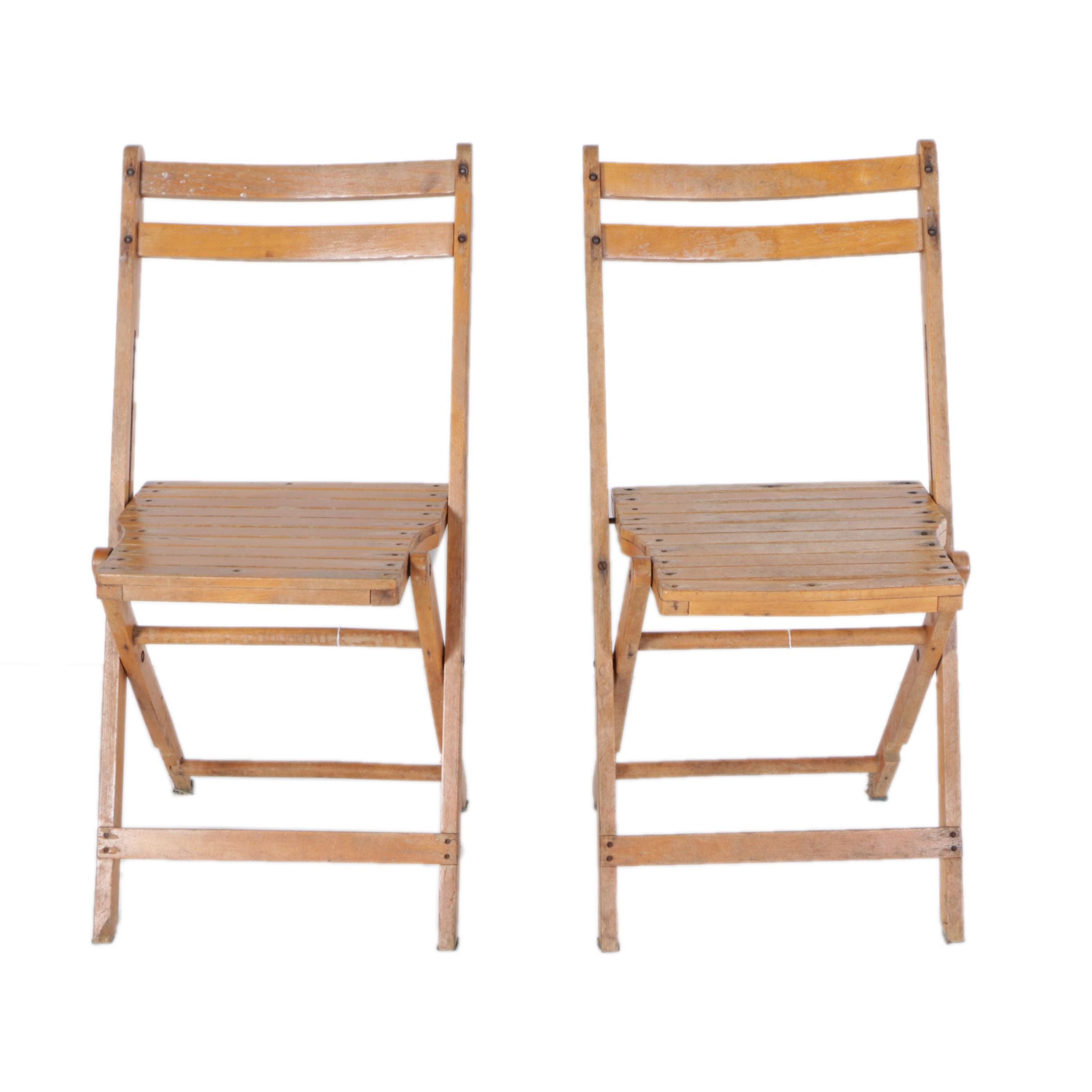 Pair of Wood Folding Chairs
