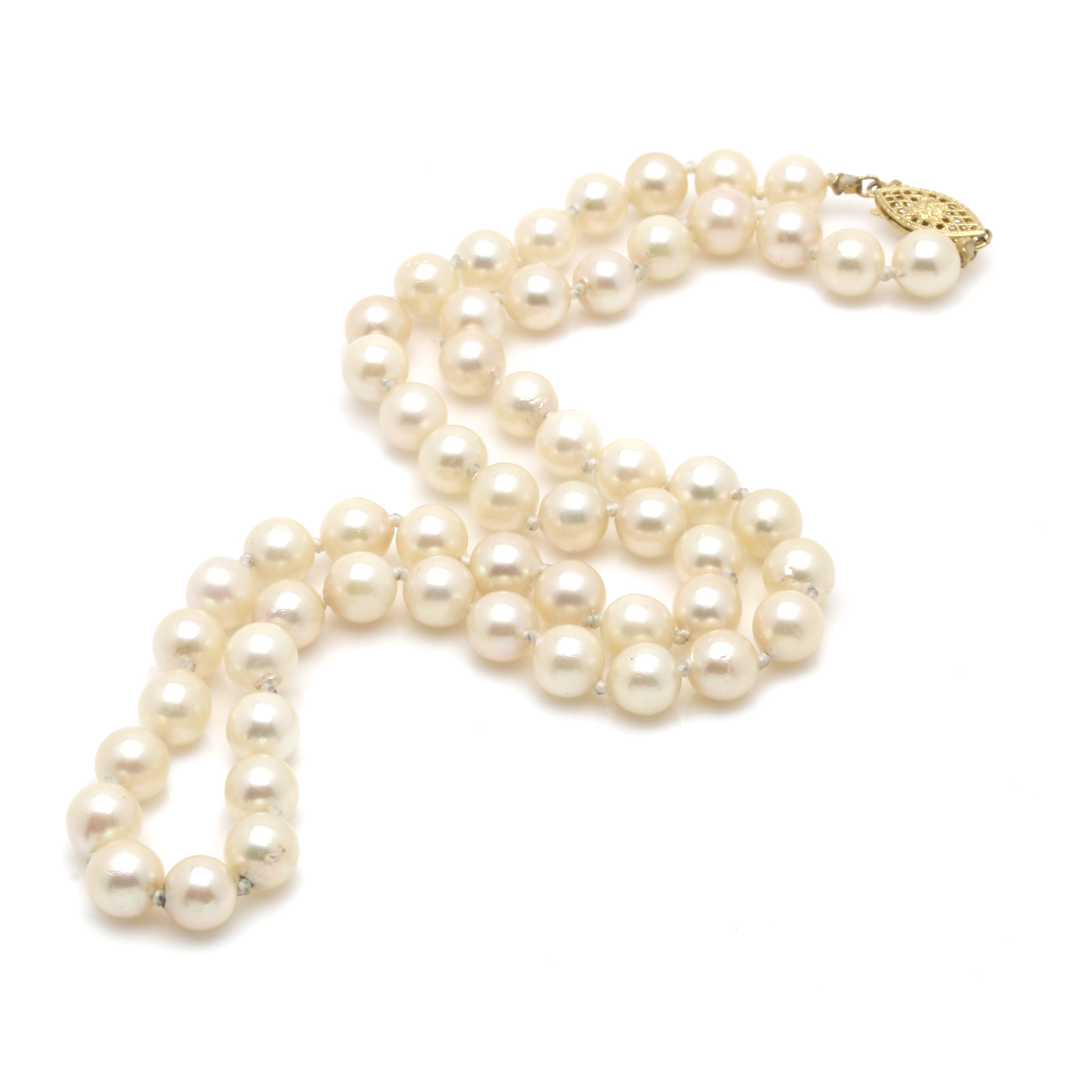14K Yellow Gold Cultured Pearl Necklace
