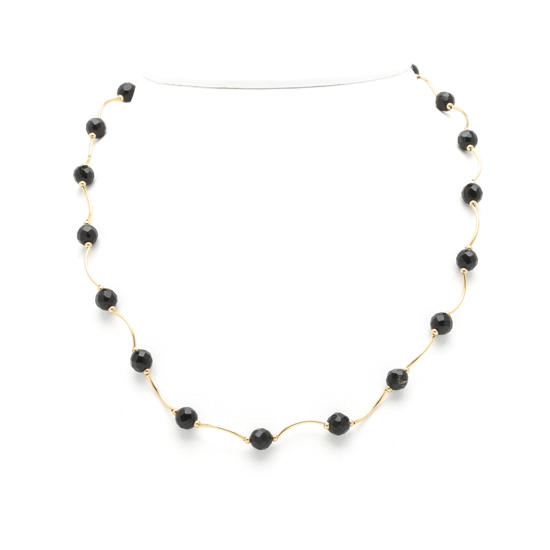 14K Yellow Gold Black Onyx Necklace