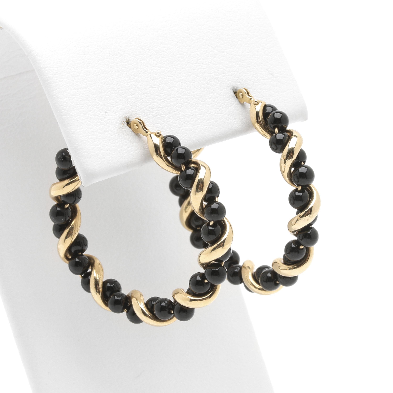 14K Yellow Gold Onyx Bead Twisted Hoop Earrings