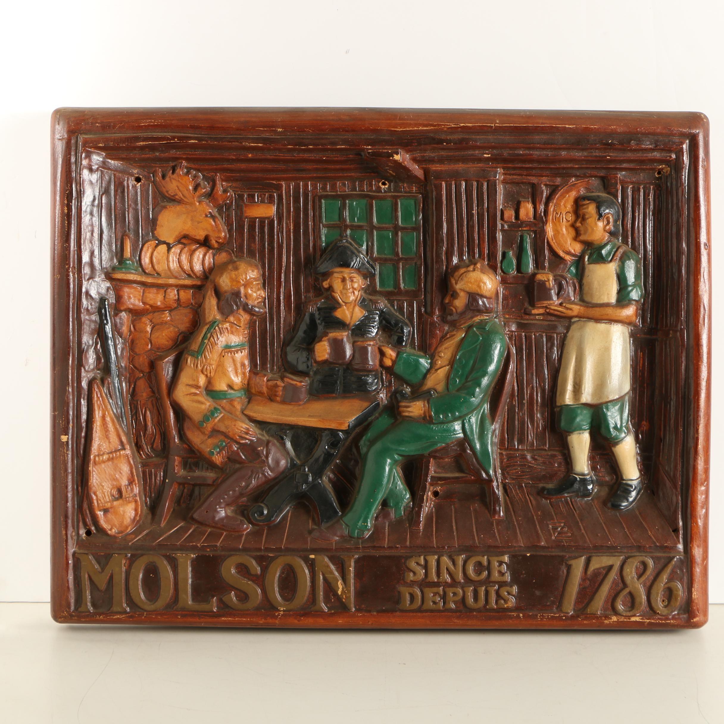 Vintage Wooden Molson Beer Sign