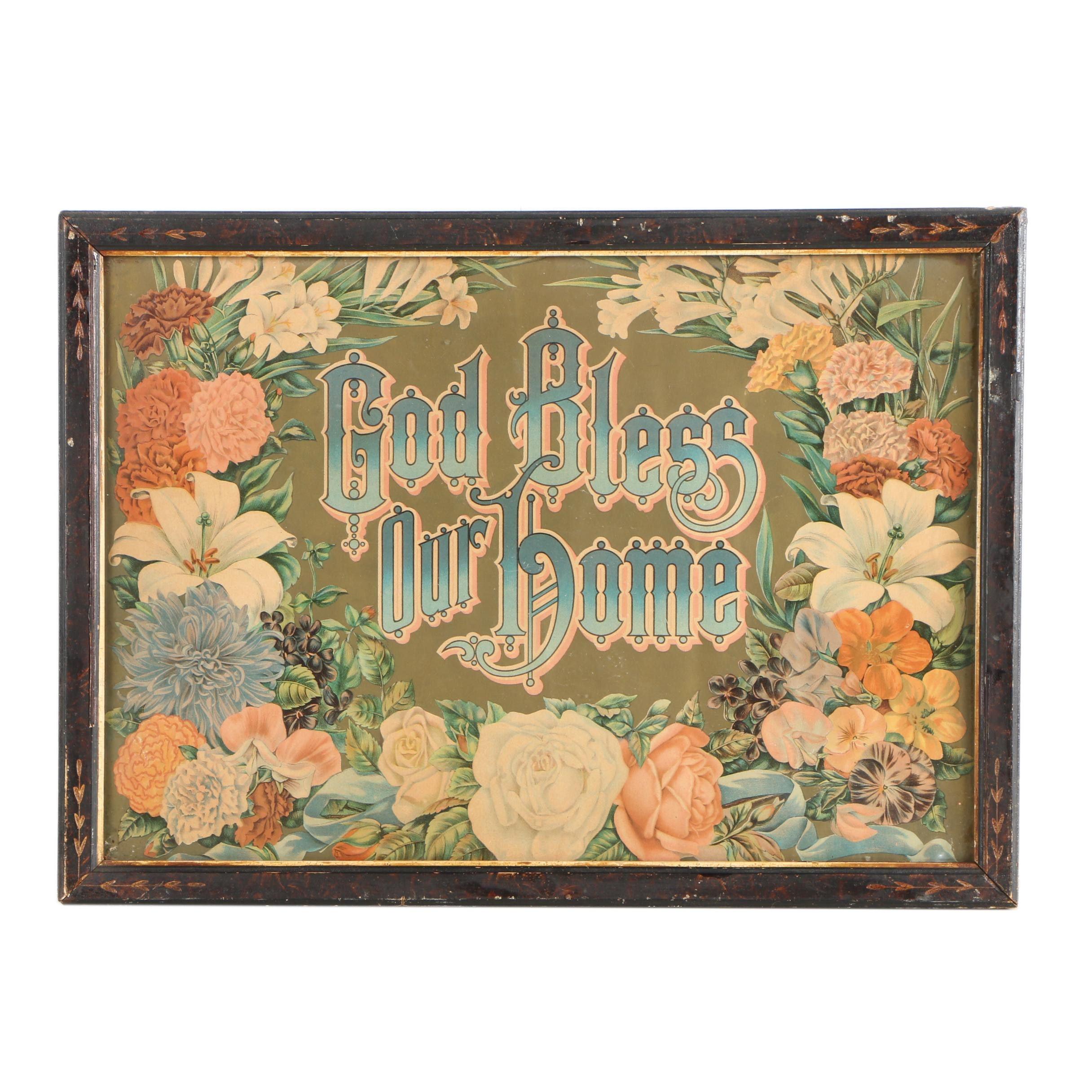 "Chromolithograph Print ""God Bless Our Home"""