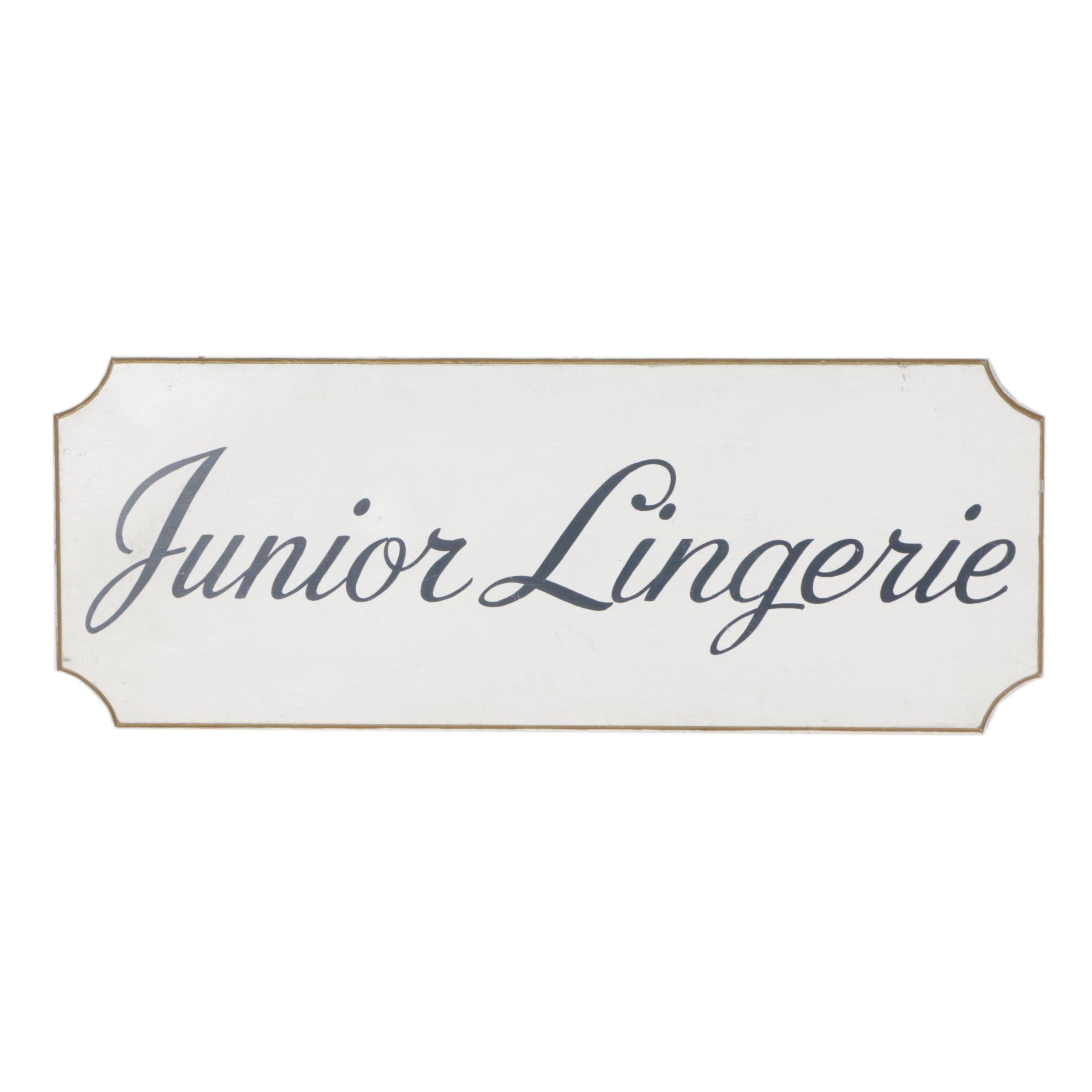 "Vintage ""Junior Lingerie"" Hand Painted Wooden Sign"