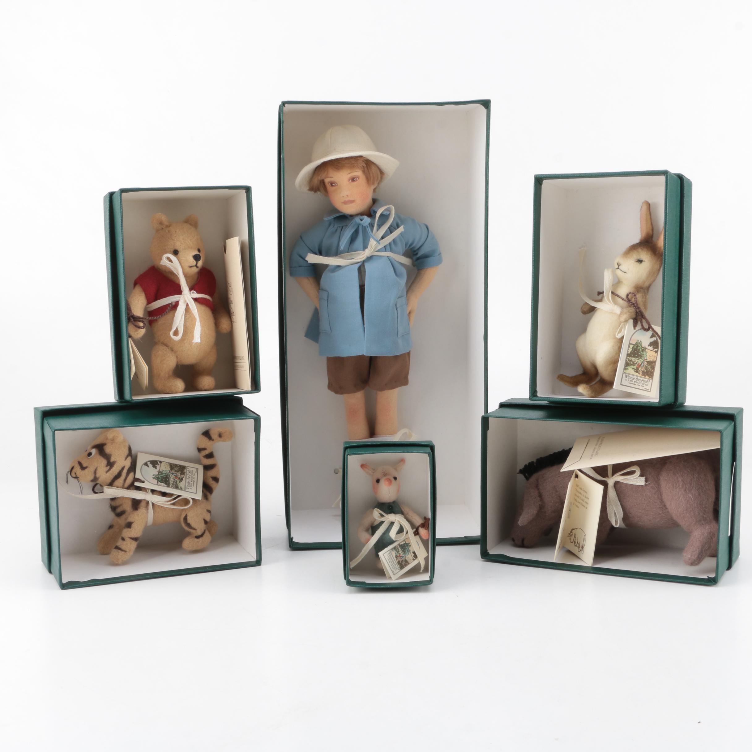 "R. John Wright Archived ""Winnie-the-Pooh"" Felt Pocket Dolls"