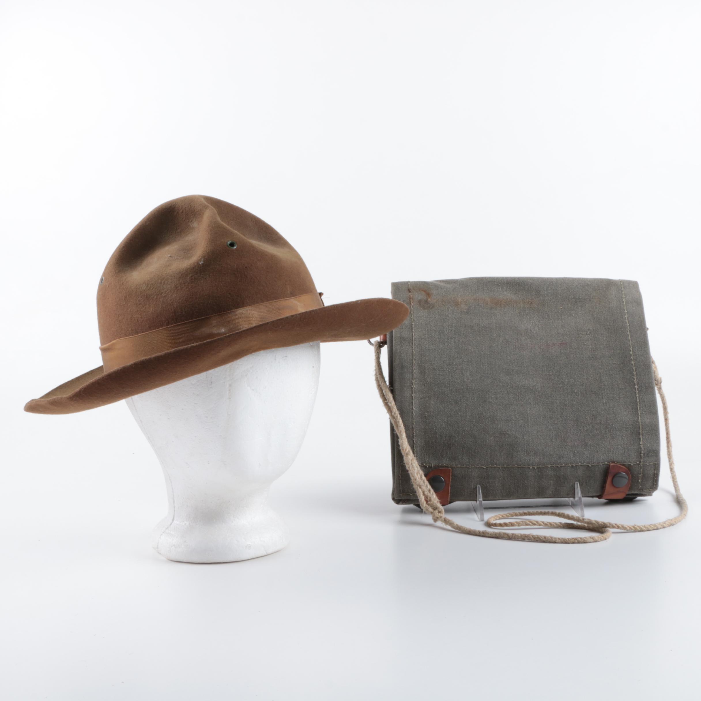 Men's Vintage Wool Blend Ranger Hat and Canvas Messenger Bag