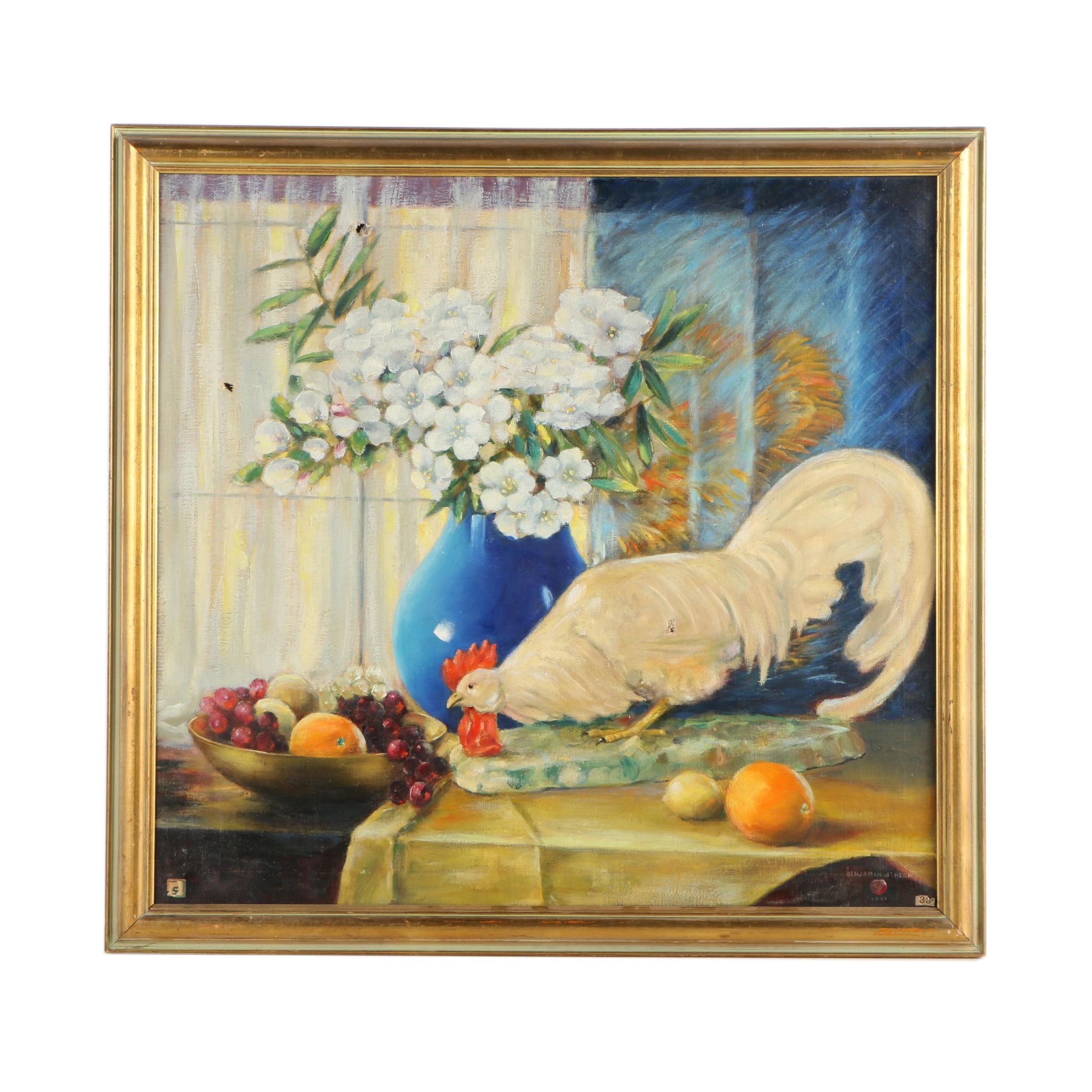 "Benjamin J. Beck 1932 Oil Still Life on Canvas ""The China Rooster"""