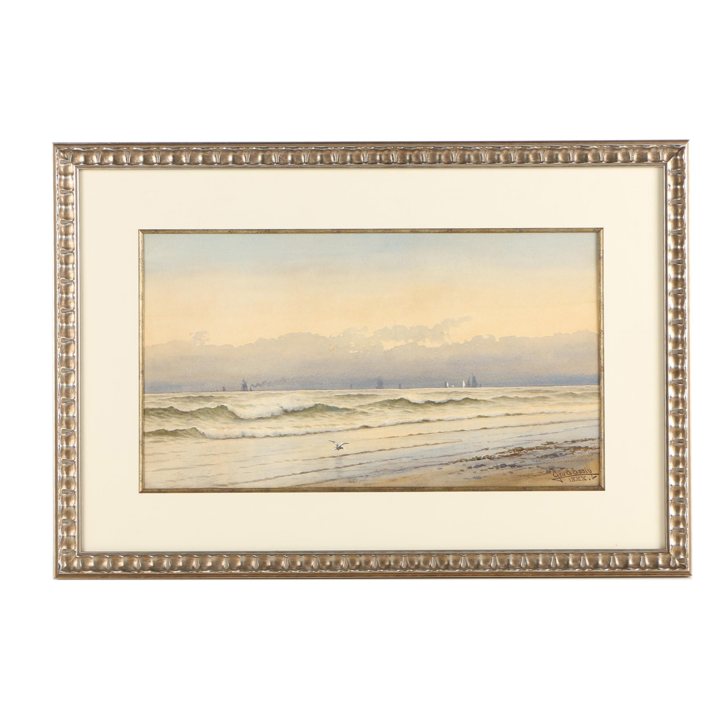 George Emerick Essig 1888 Watercolor on Paper Nautical Scene