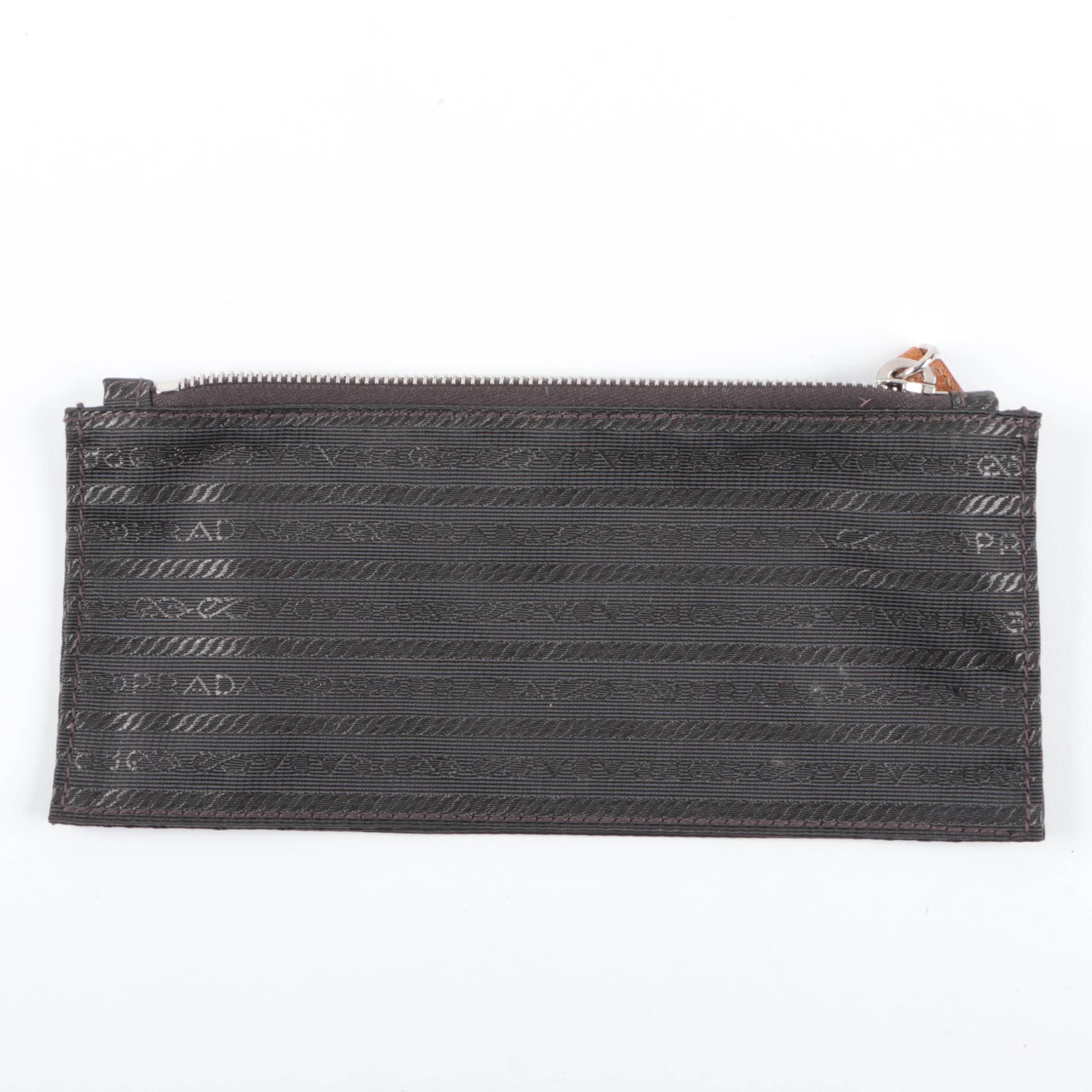 Prada Woven Fabric Accessory Pouch