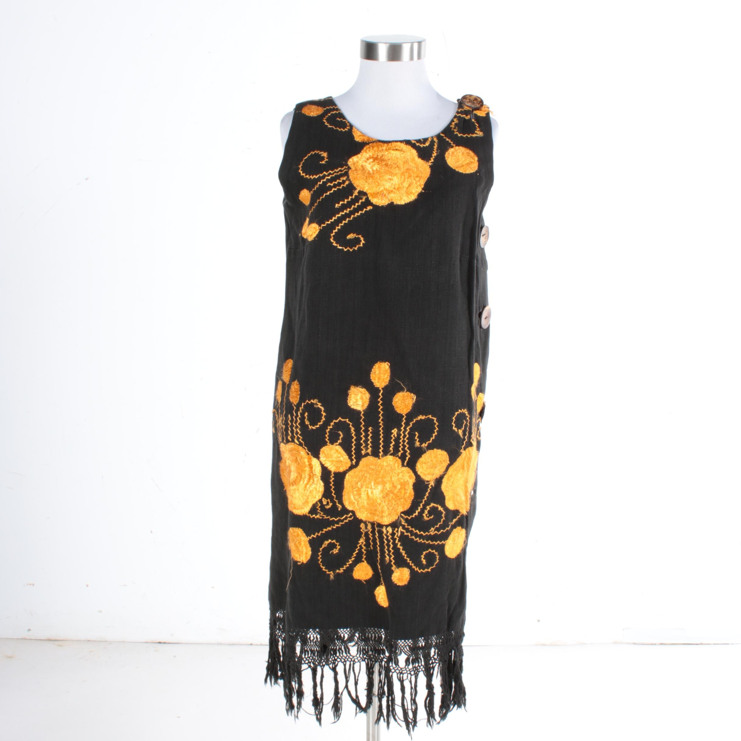 Women's Vintage Embroidered Linen Dress