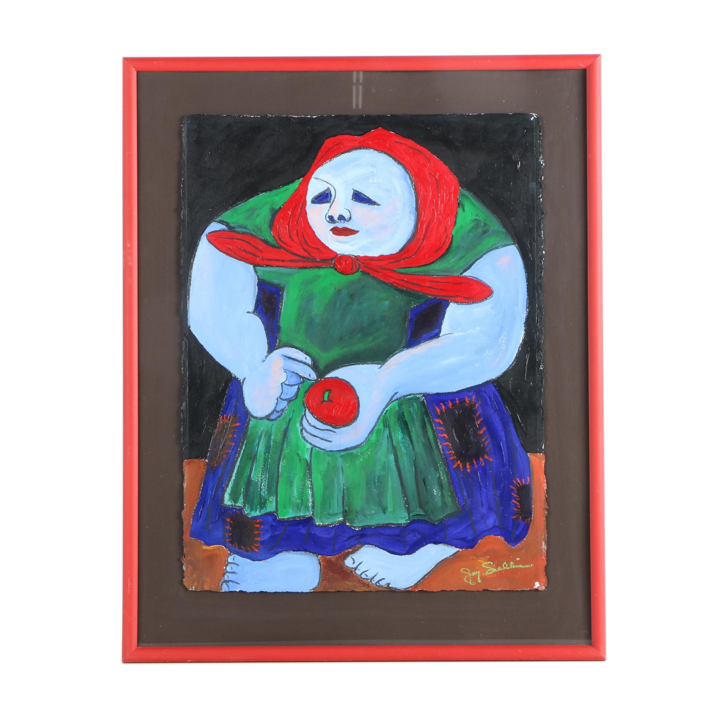 20th-Century Oil Painting of a Female Figure