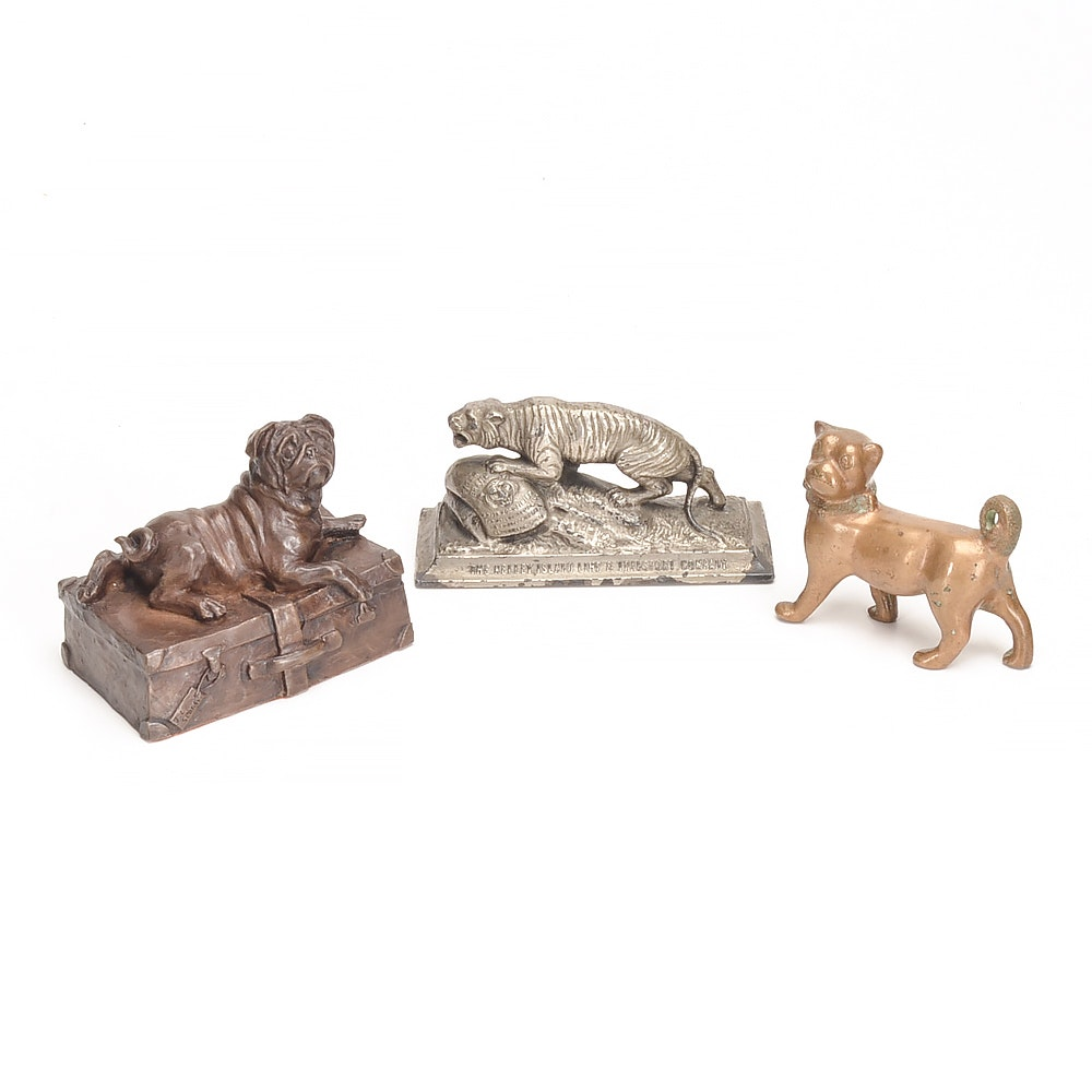 Three Vintage Animal Related Desk Figural Paperweights