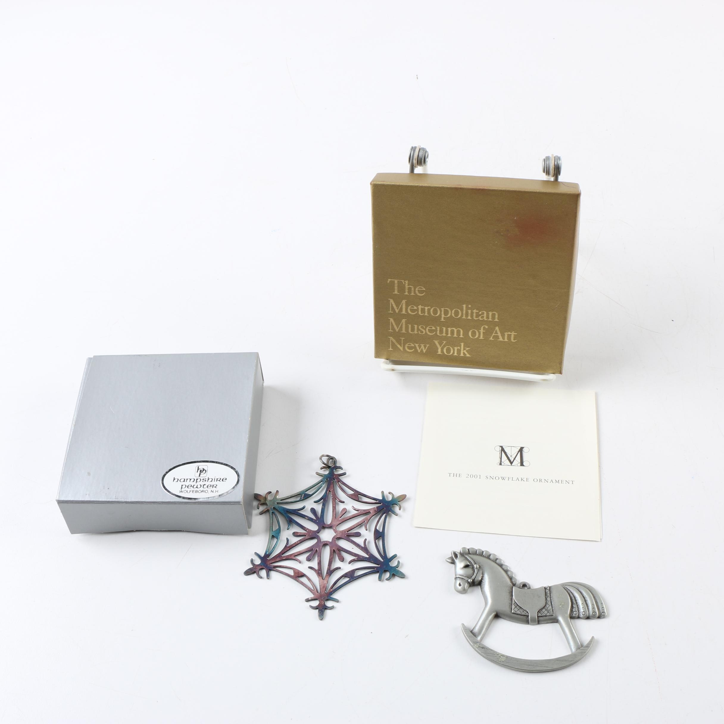 Pewter Rocking Horse and Snowflake Ornaments