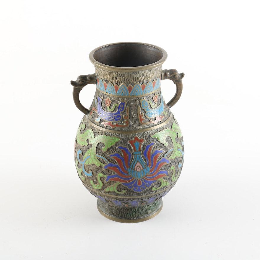 Japanese Champlev Metal And Enamel Vase Ebth