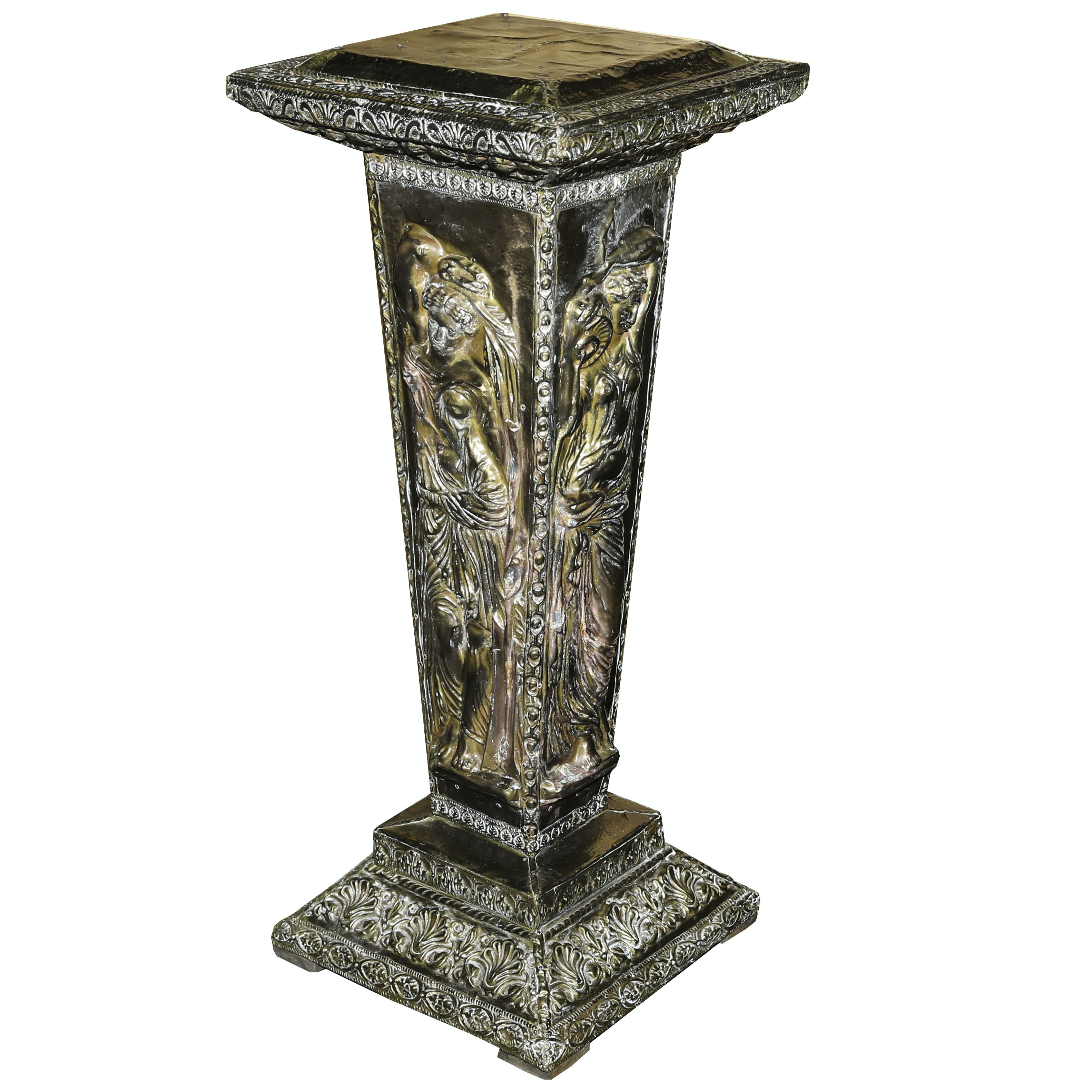 Brass and Copper Clad Wooden Pedestal