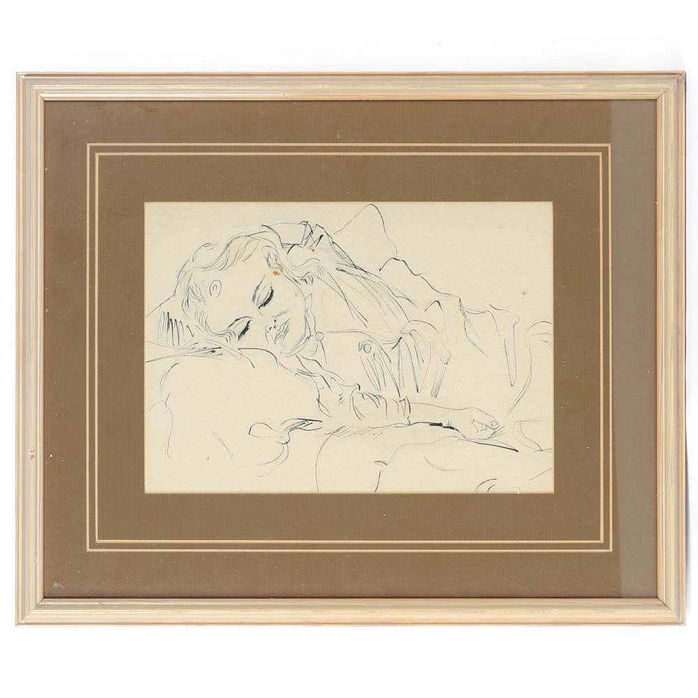 Pen and Ink Drawing on Paper of a Sleeping Woman
