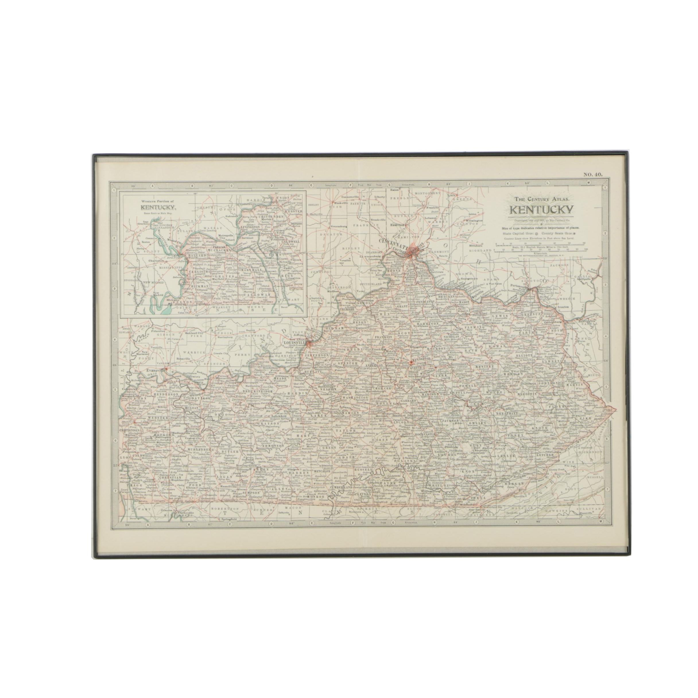 1902 Political and Topographical Map of Kentucky