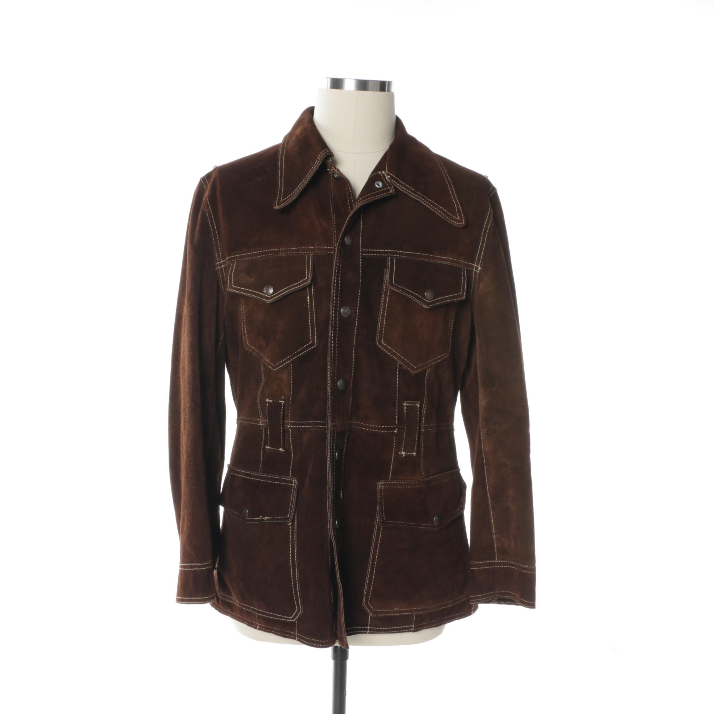 Men's Vintage El Toro Bravo Brown Suede Jacket